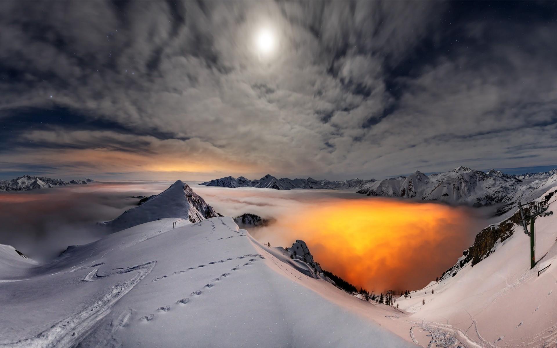 ice mountain, nature, sunset, sky, photo, landscape, hd wallpaper
