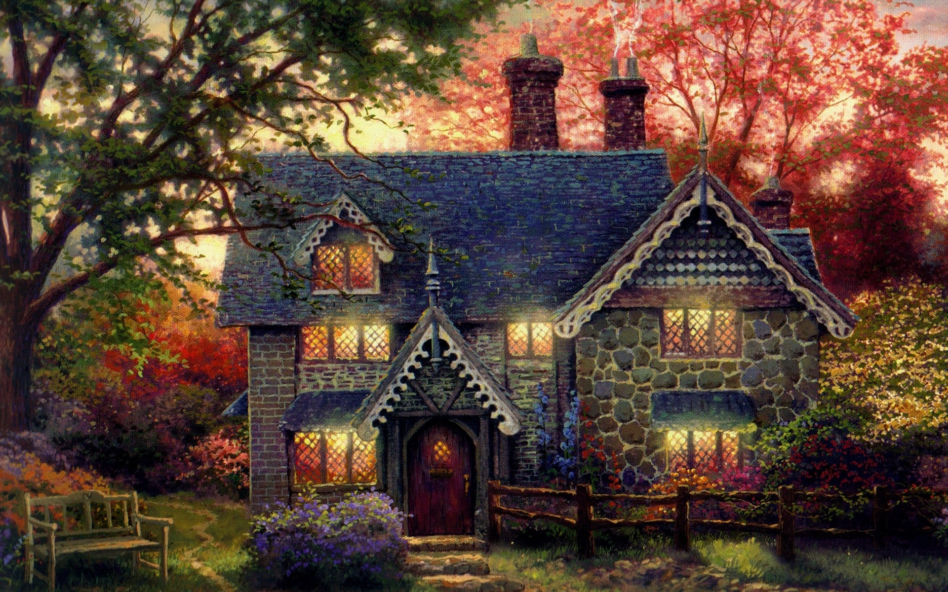 Fall High Resolution Background Fall House Background