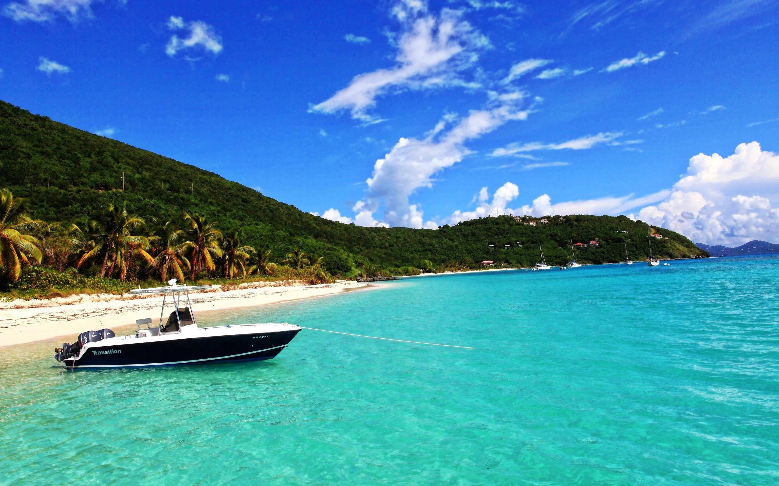 Boat on the Caribbean Island
