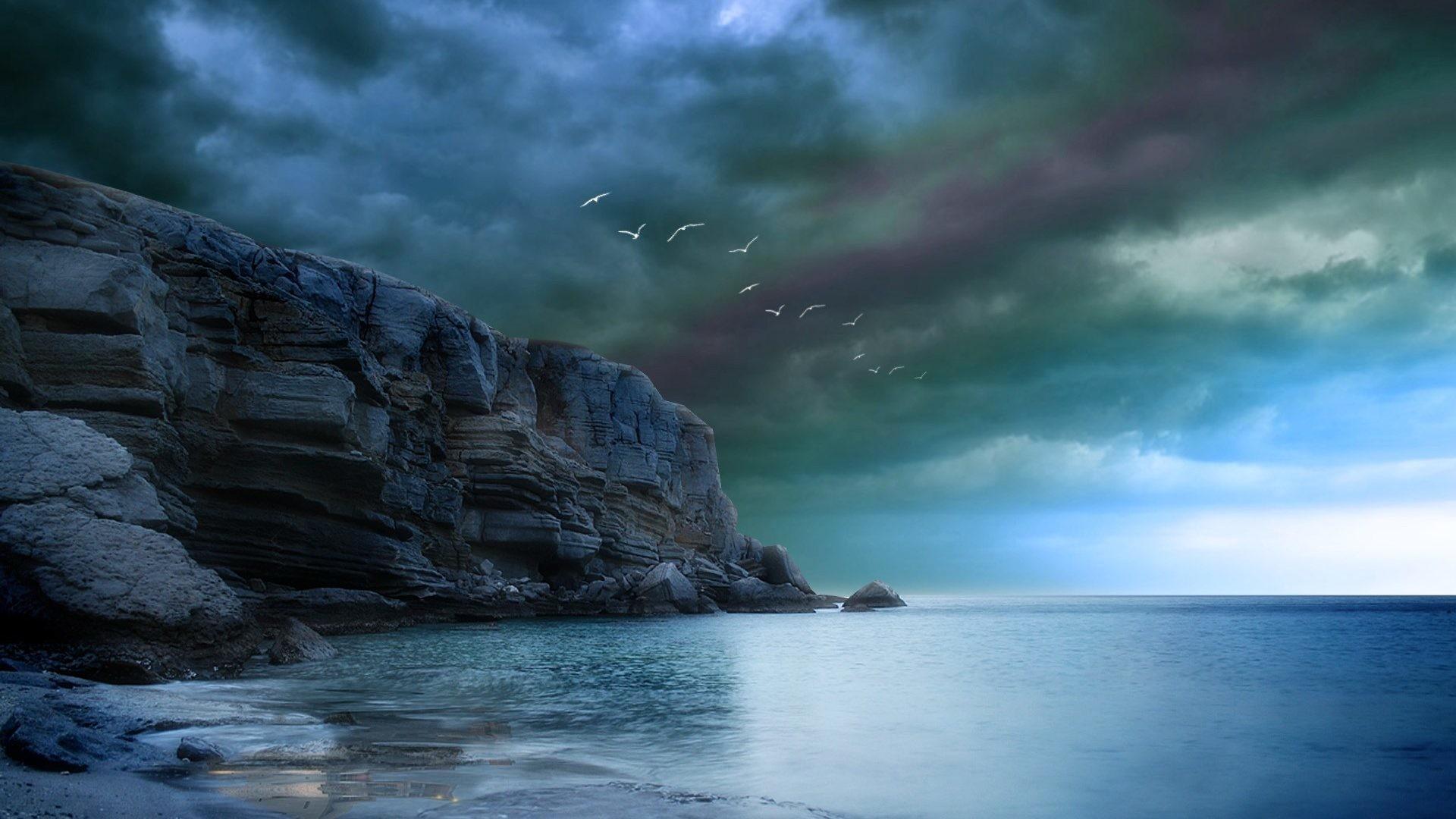Oceans – Rocky Amazing Rock Blue Birds Sky Sea Clouds Dark Ocean Storm  Storms Cliff Beautiful