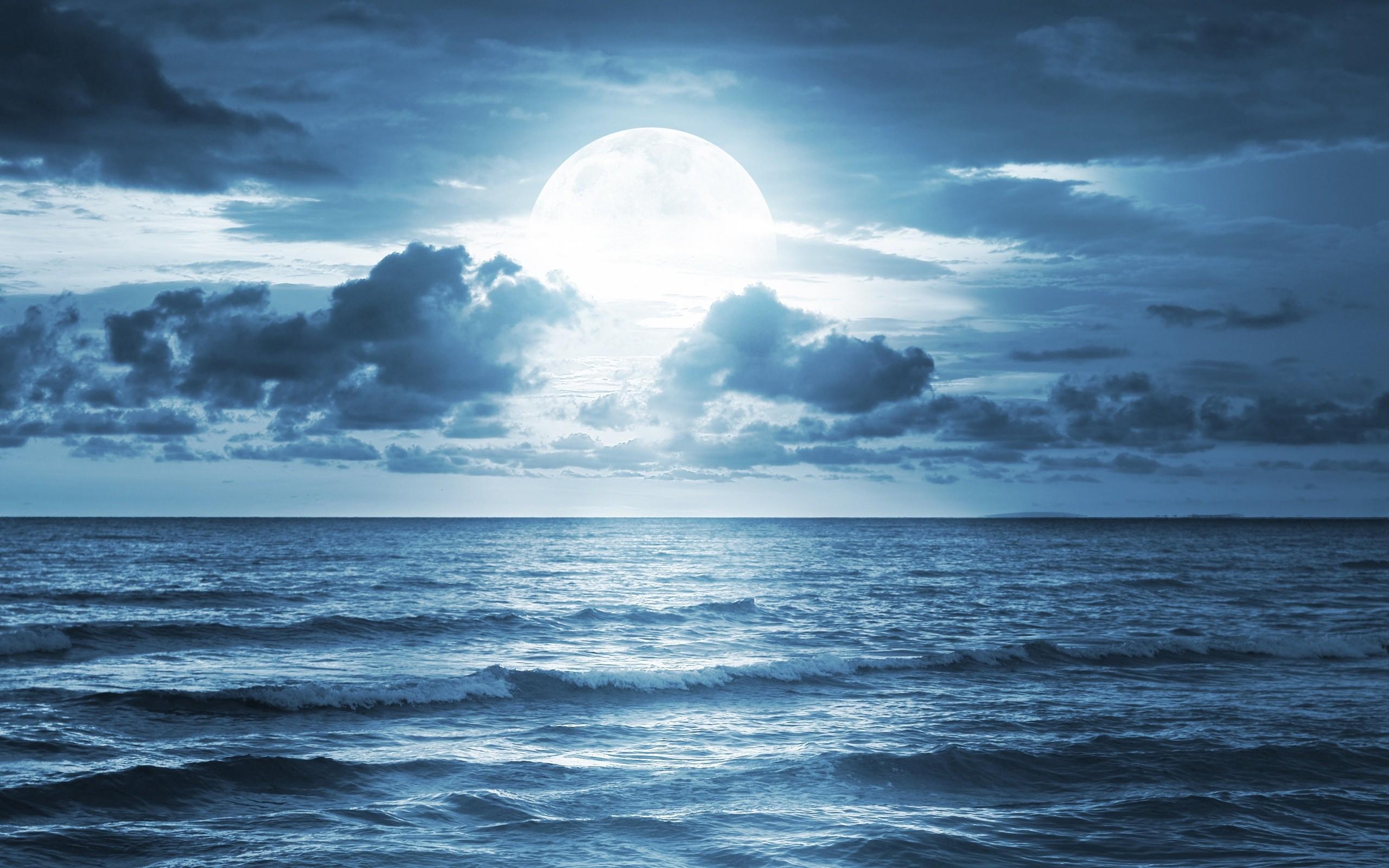ocean sea moonlight dramatic scene full moon beautiful nature .