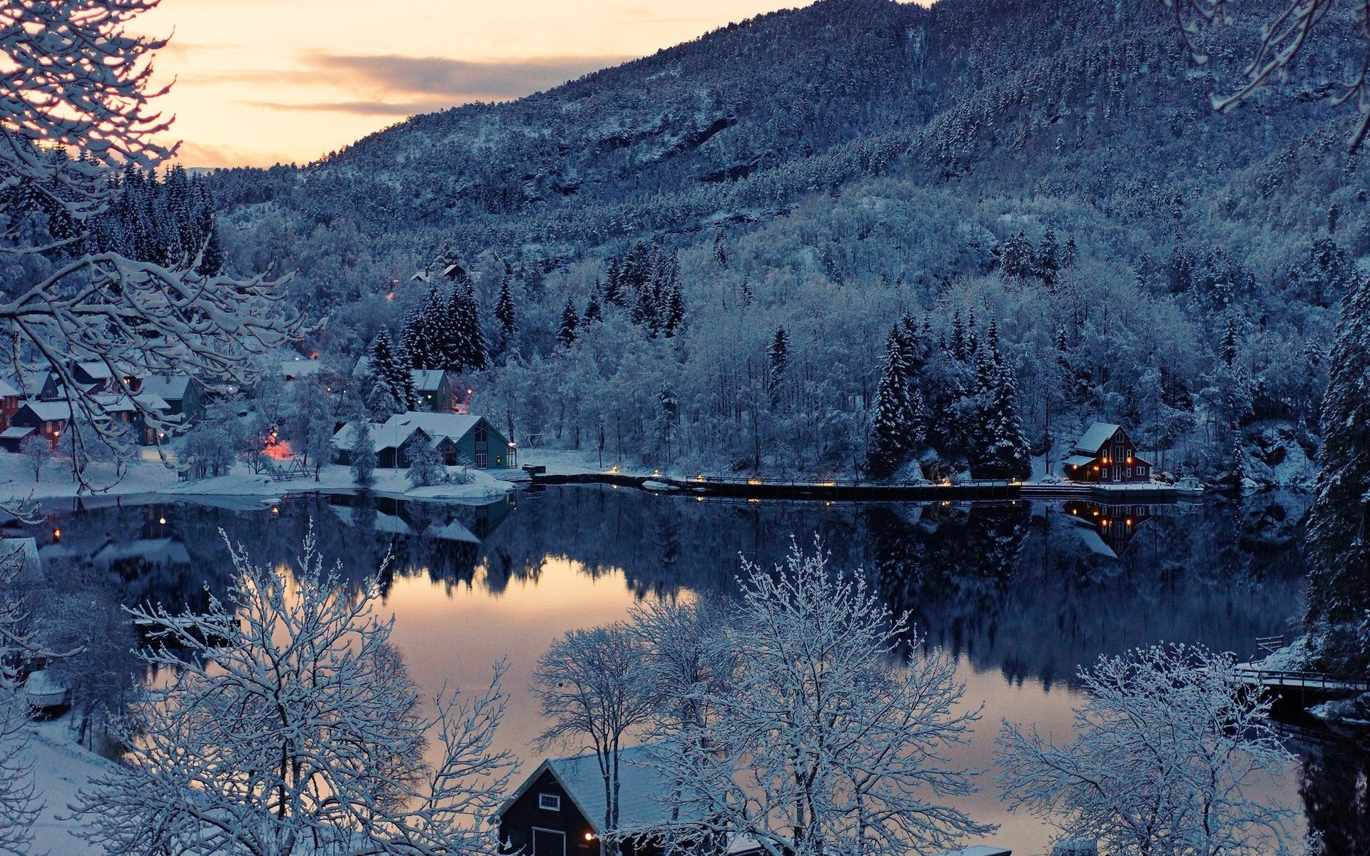 Snow Forest Houses & Lake wallpapers and stock photos