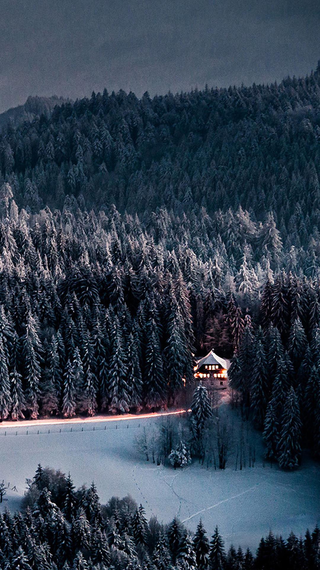 Winter Snow Forest Chalet Retreat iPhone 8 wallpaper
