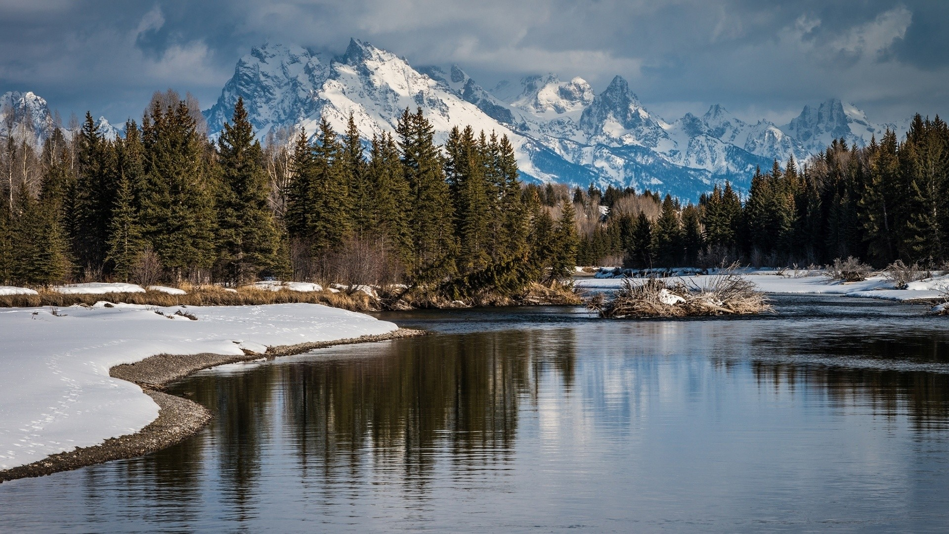 Snowy Peaks Forest River Snow