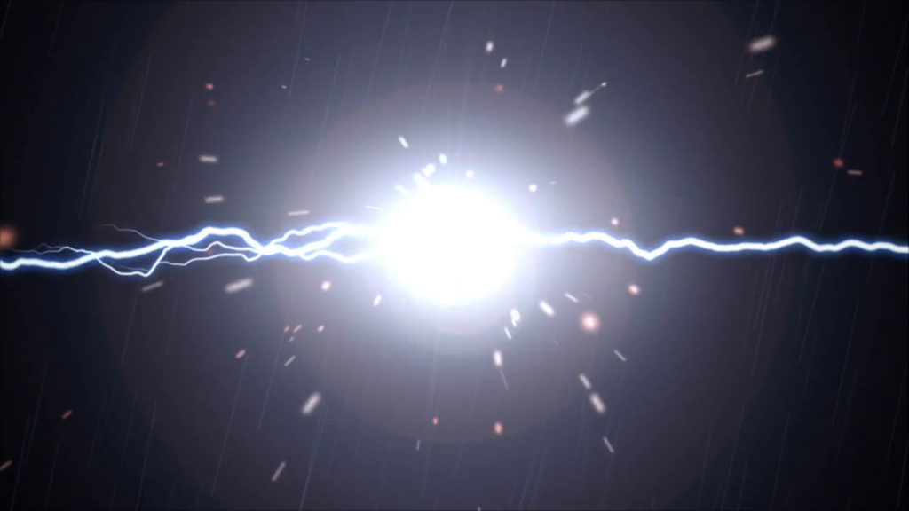 Sparks fly when bolts of plasma lightning meet over a black background.  With lens flare and subtle rain effect Motion Background – VideoBlocks