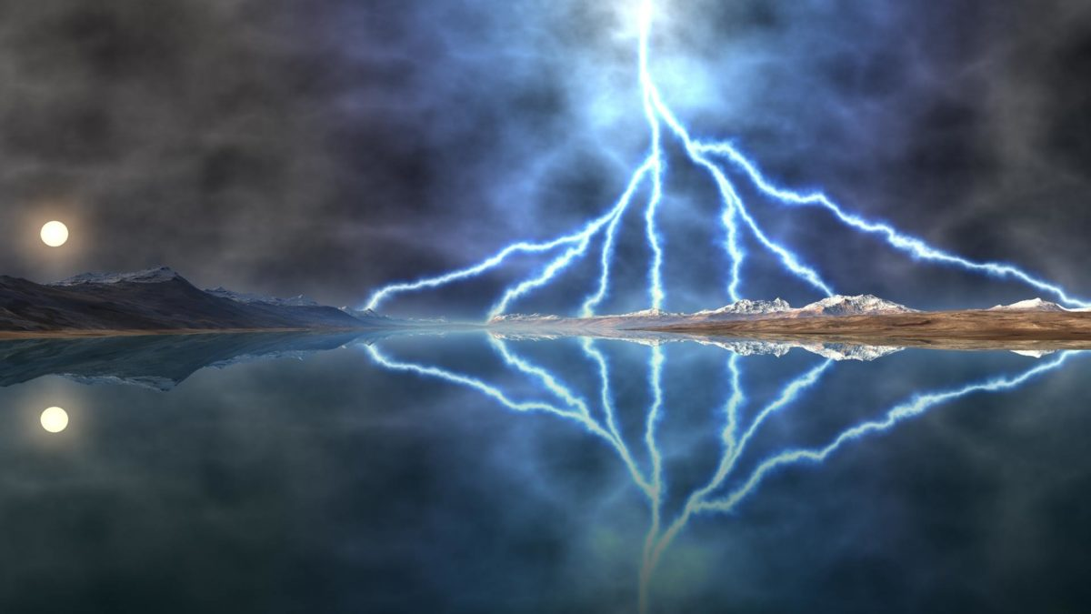 Lightening storm over lake desktop background. Landscape background for use  as a desktop wallpaper picture.