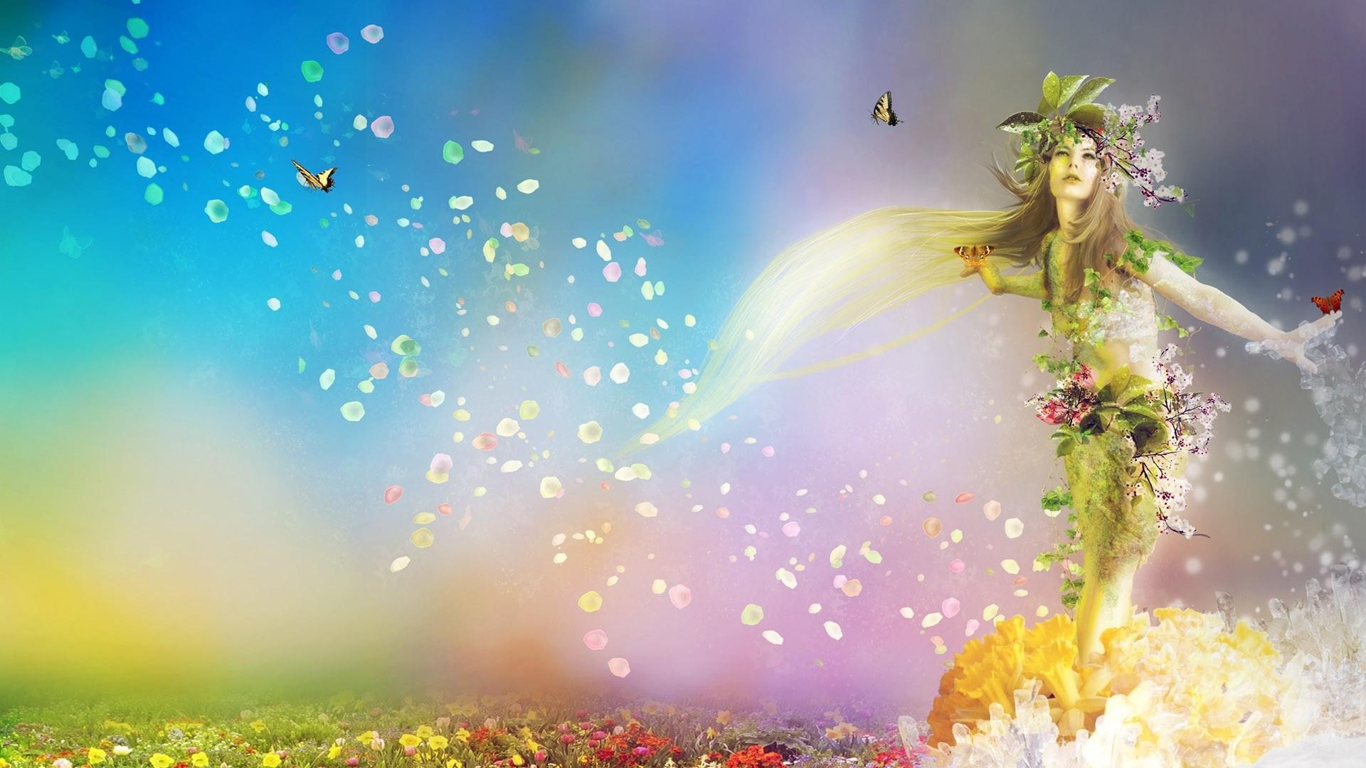 Preview wallpaper spring, nature, flowers, butterflies, girl 1920×1080