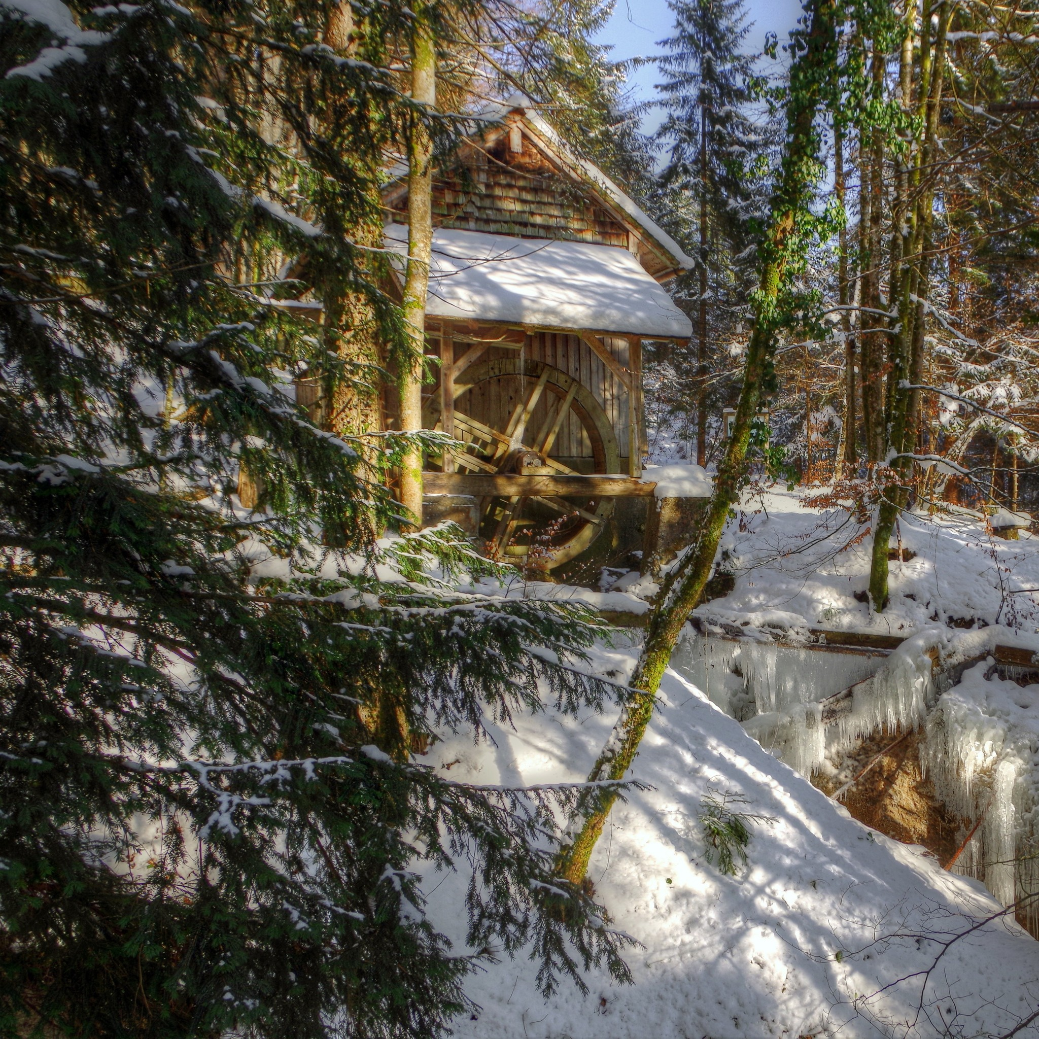 Preview wallpaper winter, forest, river, mill, landscape 2048×2048