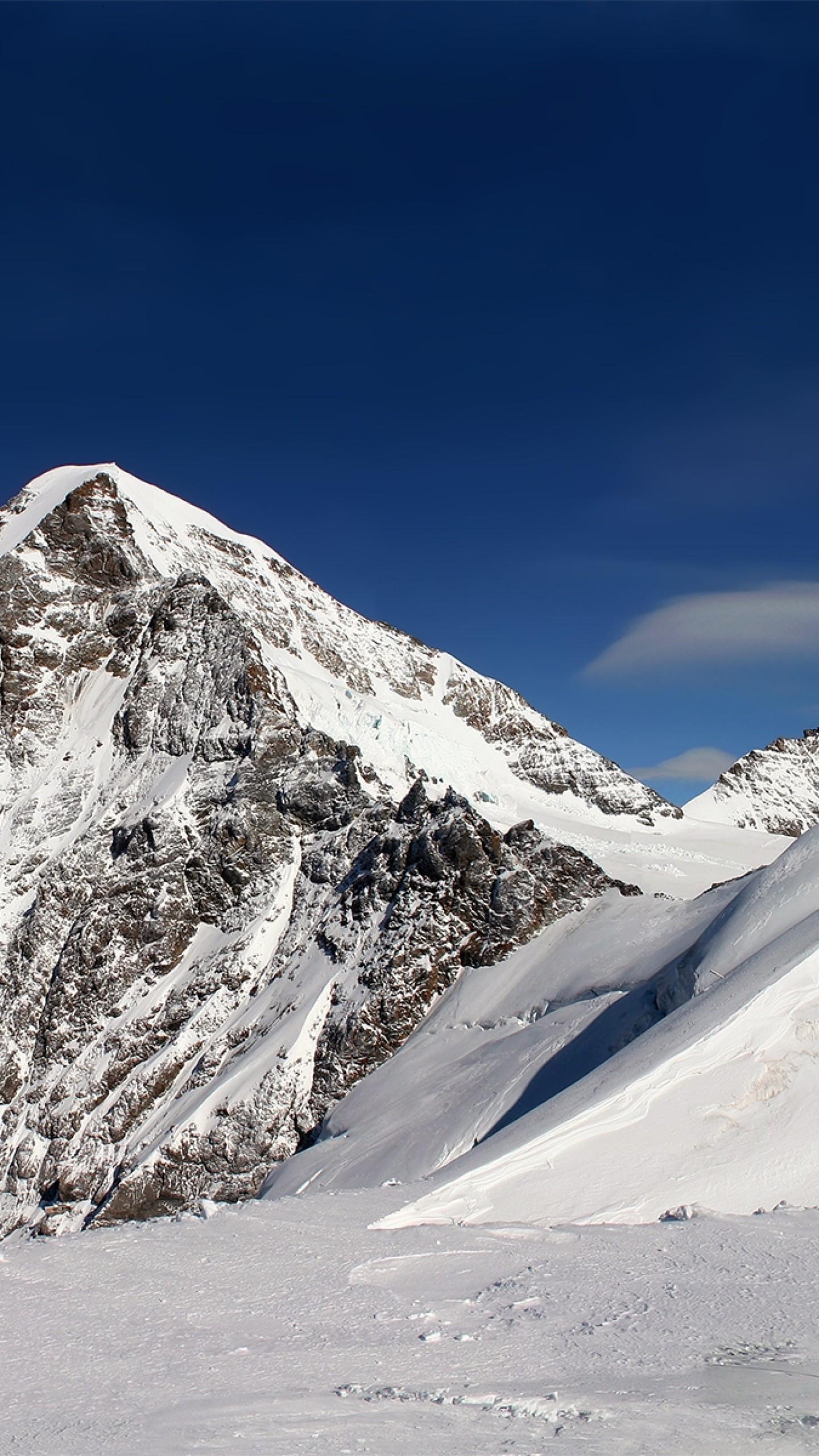 Wallpaper mountain, snow, lines, geometry, winter