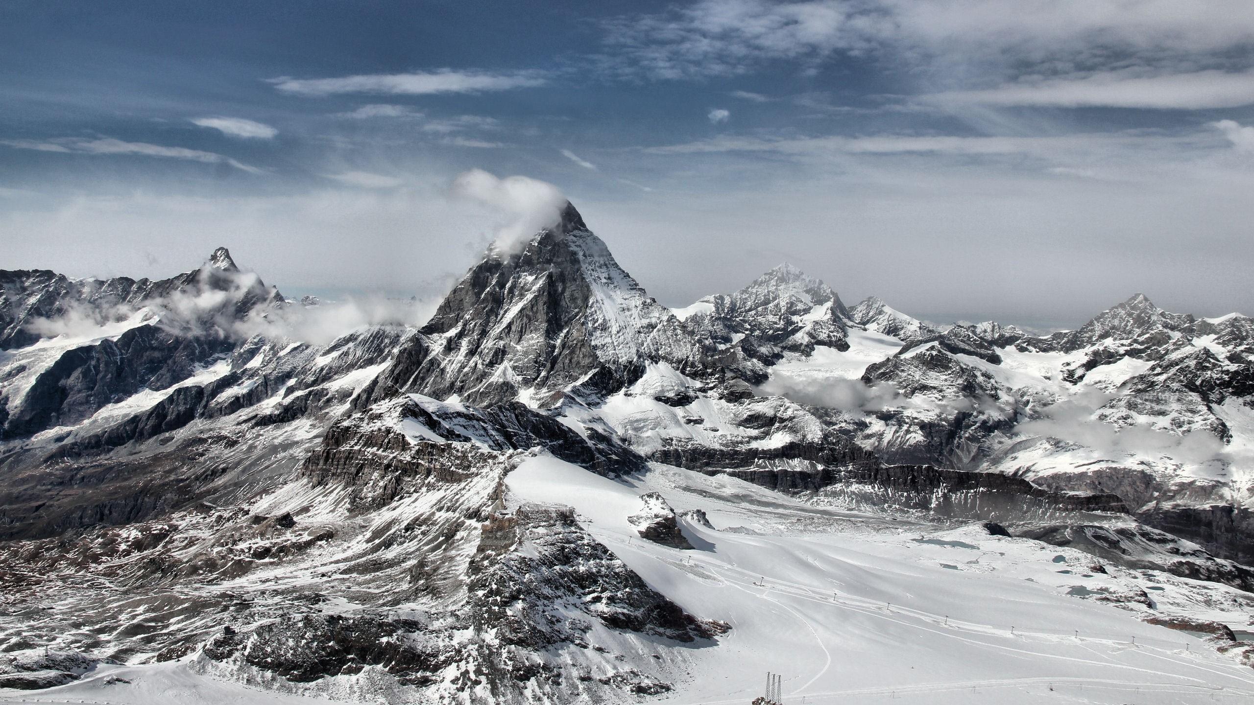 Wallpaper landscape, winter, mountain, peak, top, clouds, white