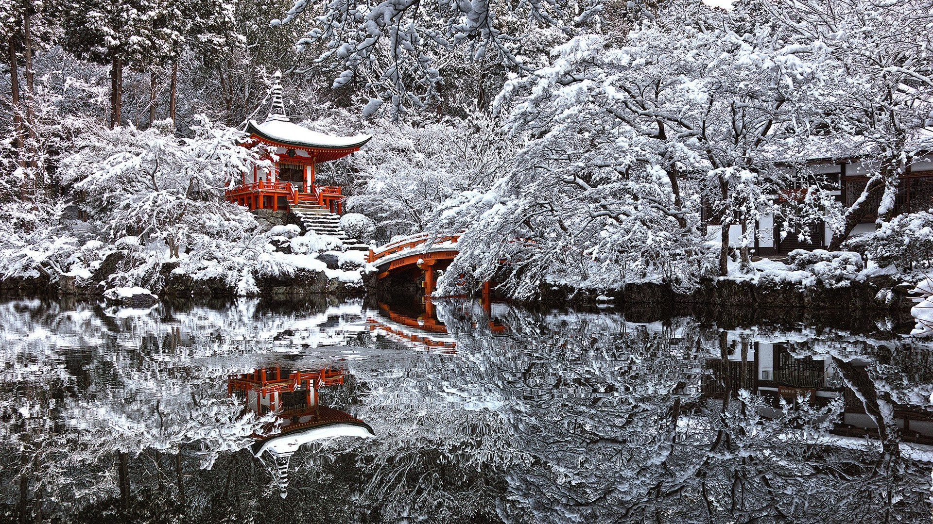 Japan, Temple, Snow, Winter, Reflection, Pond, Kyoto Wallpapers HD /  Desktop and Mobile Backgrounds