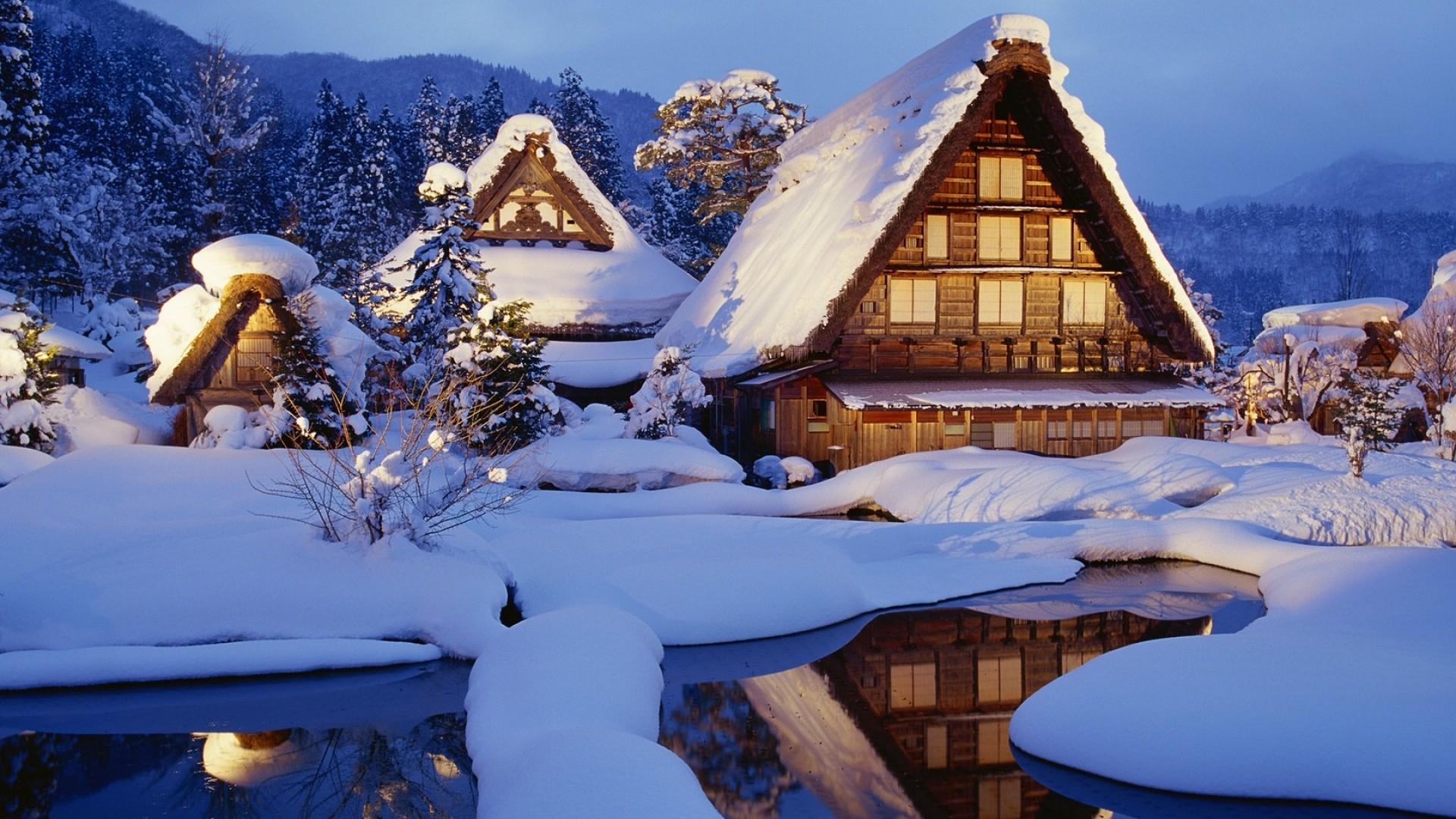 Wallpaper winter, snow, lodges, lake, light, reflection, japan