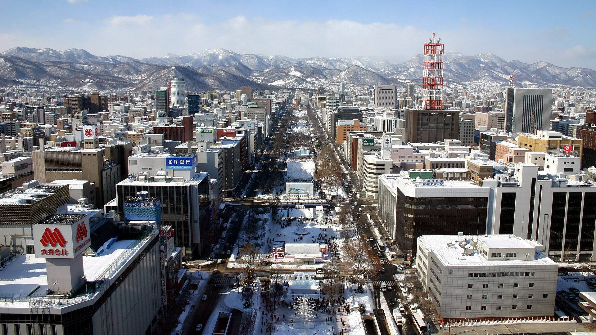 winter snow street buildings mountain japan