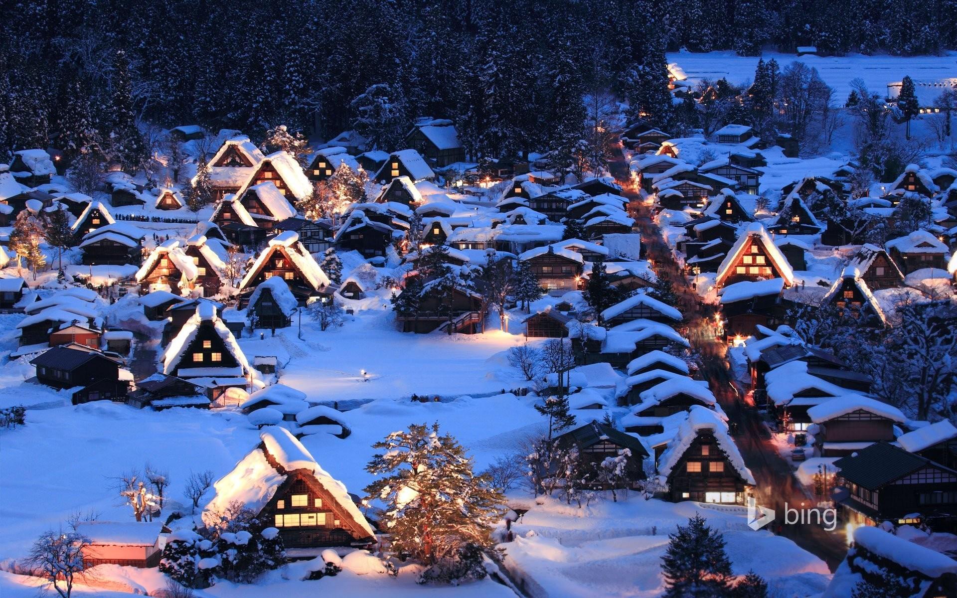 sirakava- th gokayama the island of honshu japan night lights valley winter  snow