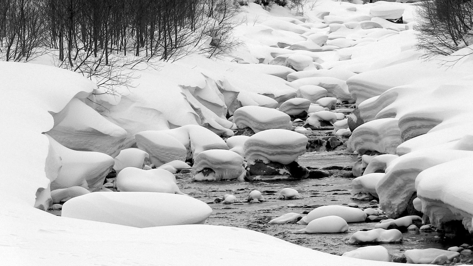 Japanese creek covered in deep snow. photo: miles clark/snowbrains