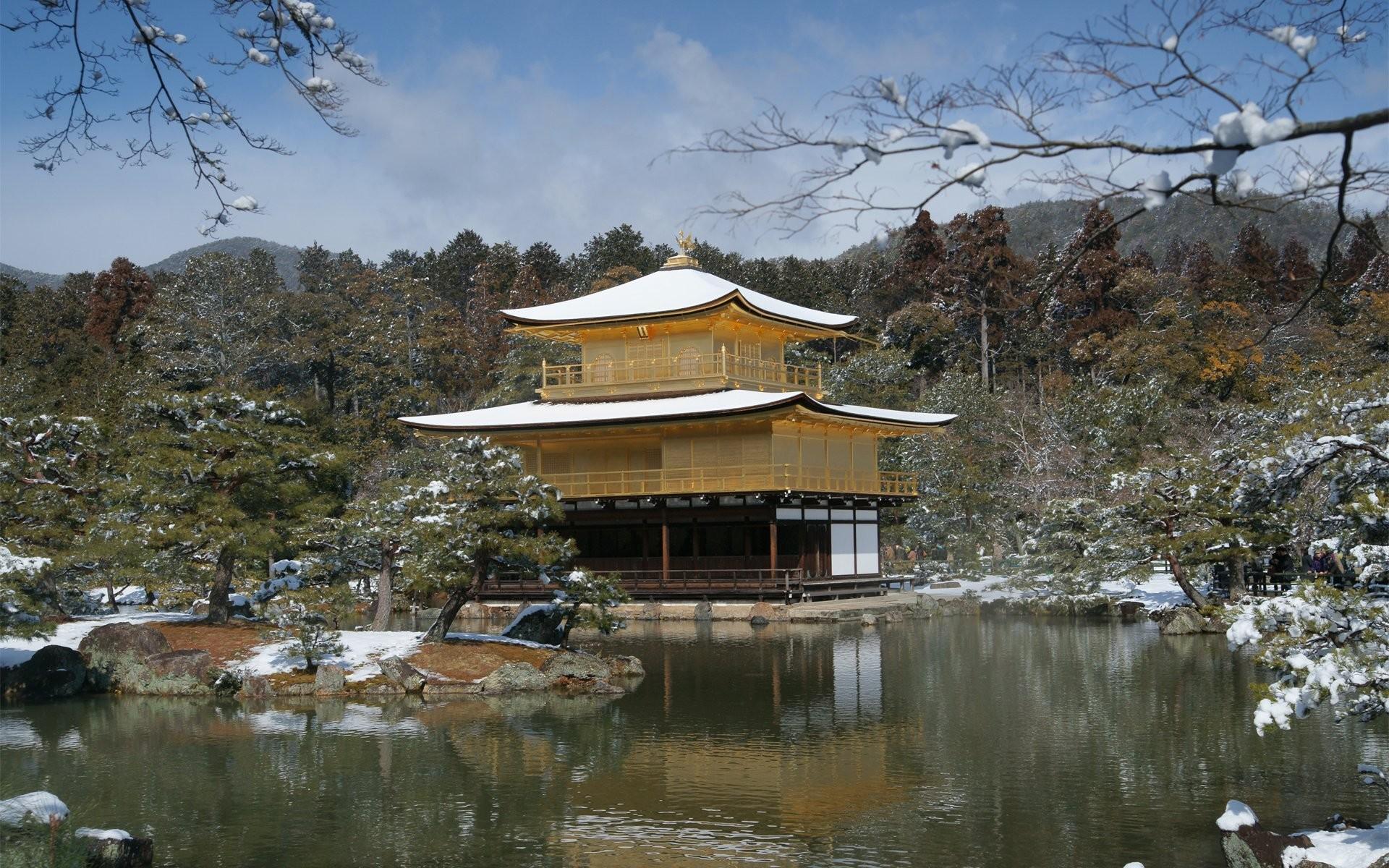 japan winter spring lake snow house tree
