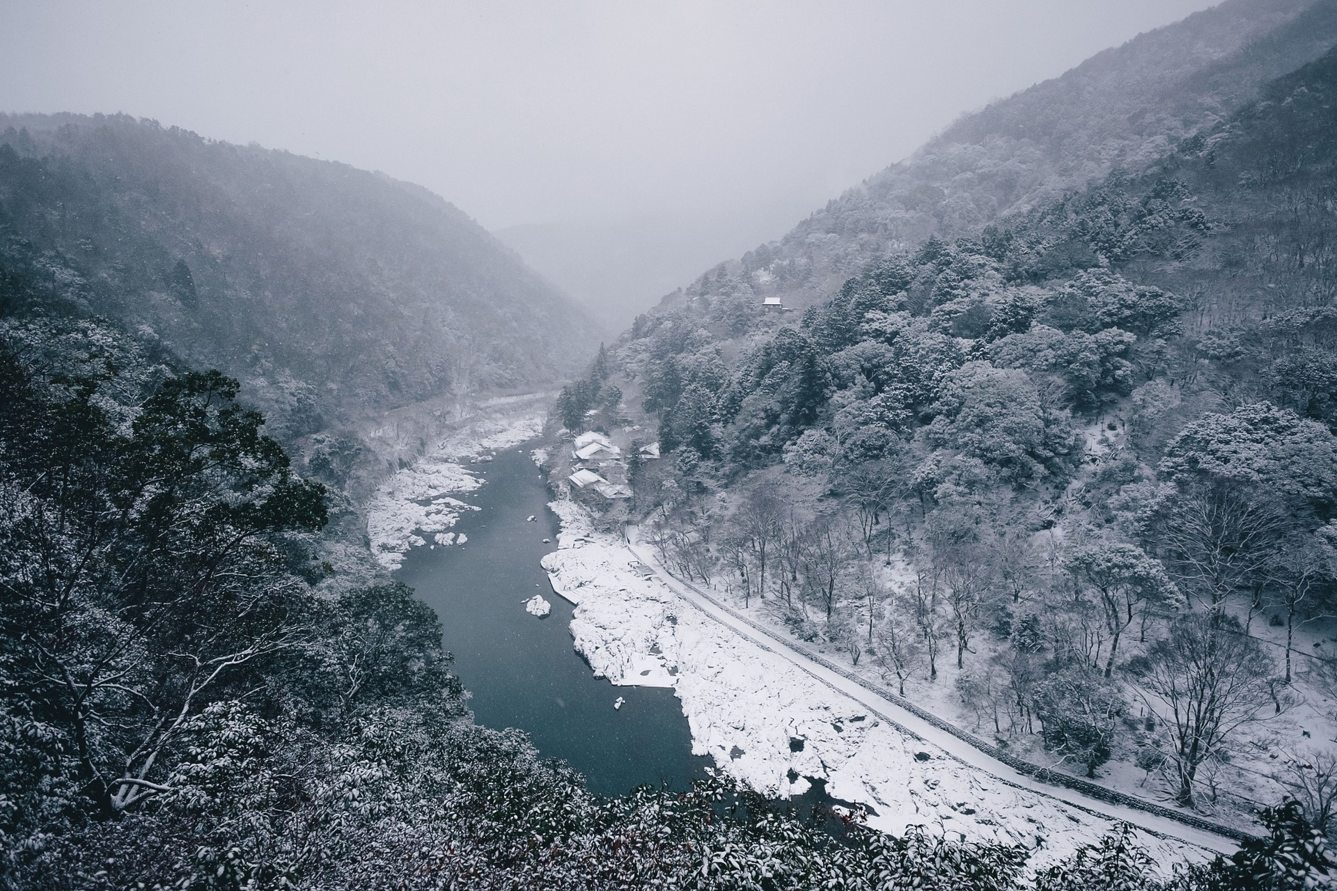 nature, Landscape, River, Winter, Mountain, Forest, Snow, Trees, Mist, Japan  Wallpapers HD / Desktop and Mobile Backgrounds