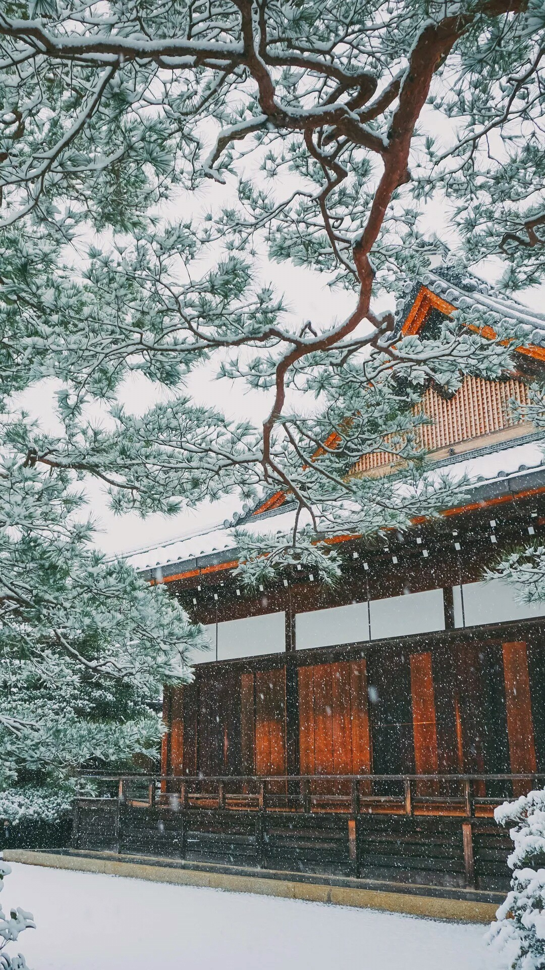 Winter Snowing in Japan. Asian or oriental houses and buildings. Tap to see  more beautiful iPhone 6 Wallpapers, lockscreen backgrounds, fondos.