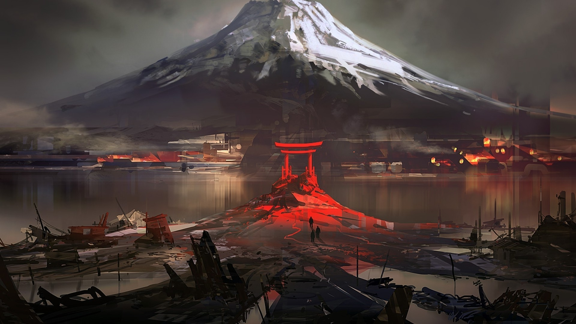 nature, Mountain, Snow, Winter, Water, Drawing, Digital Art, Japan, House,  Ruin, Torii Wallpapers HD / Desktop and Mobile Backgrounds