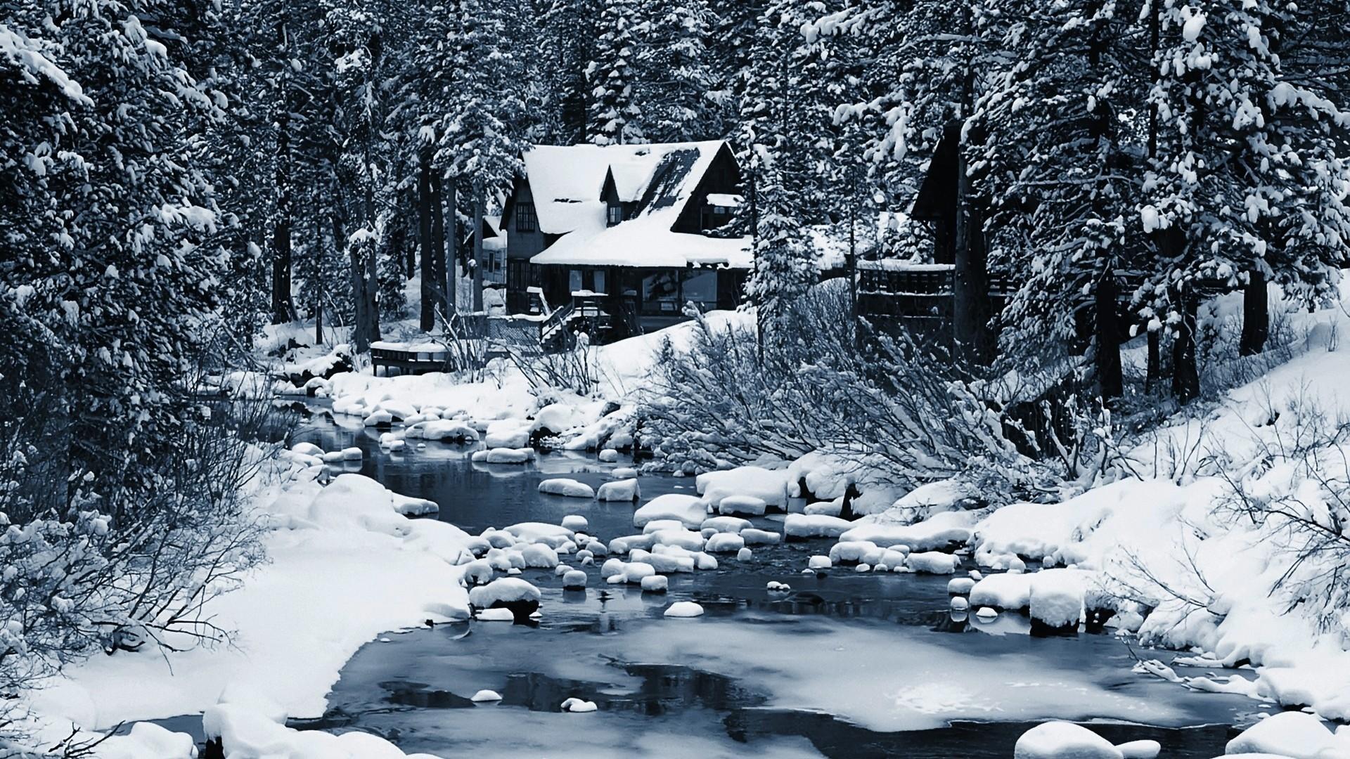 #CCCCDD Color – Riverside Forest Home Winter River House Rocks Wallpaper  For Desktop for HD