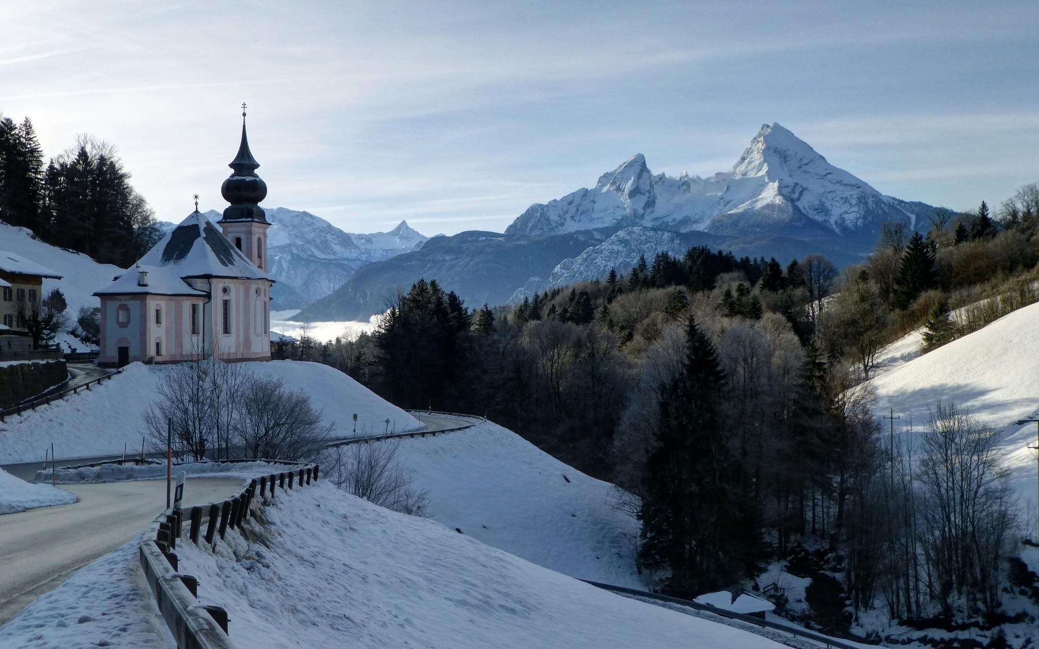 Berchtesgaden Bavaria Germany Bavarian Alps Mount Watzmann winter road  forest landscape mountains Alps Church wallpaper background