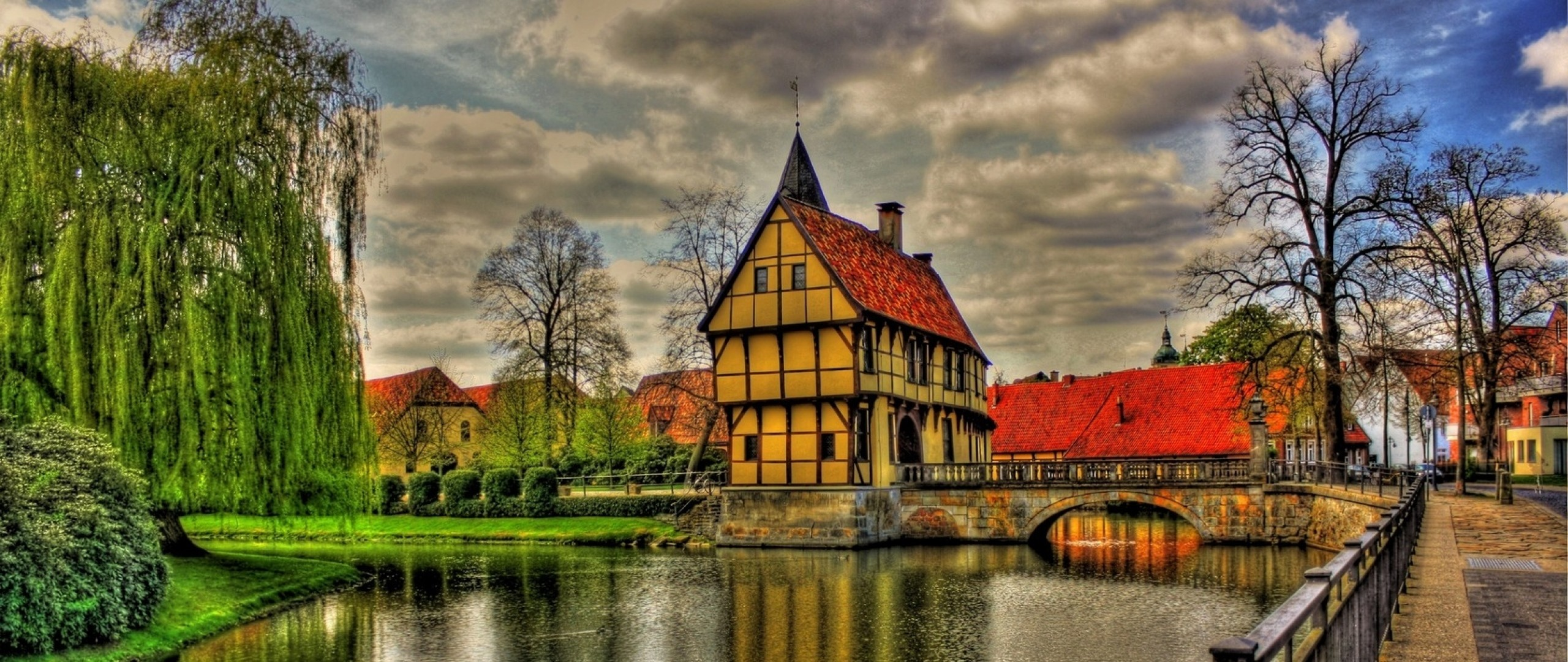Preview wallpaper germany, architecture, beauty, bridge, clouds, colorful,  colors,