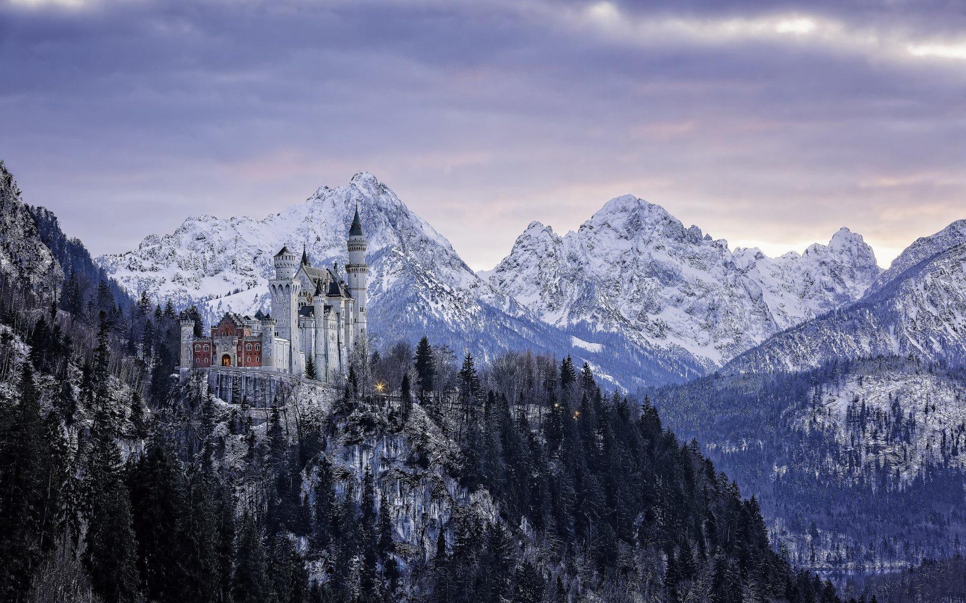 Winter Landscape Background Alps And Neuschwanstein Castle .