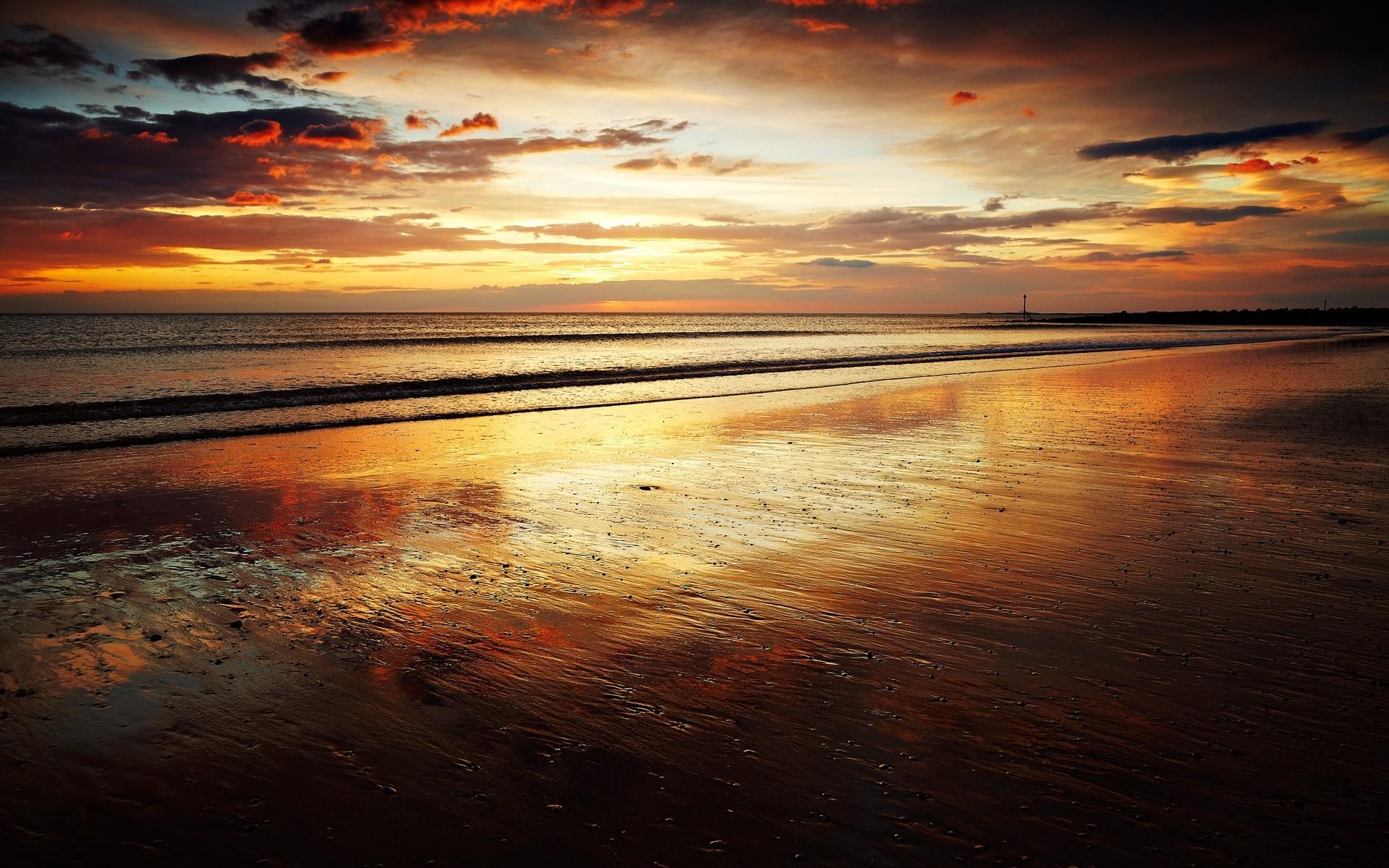 Pretty Beach Ocean Golden Sky desktop PC and Mac wallpaper