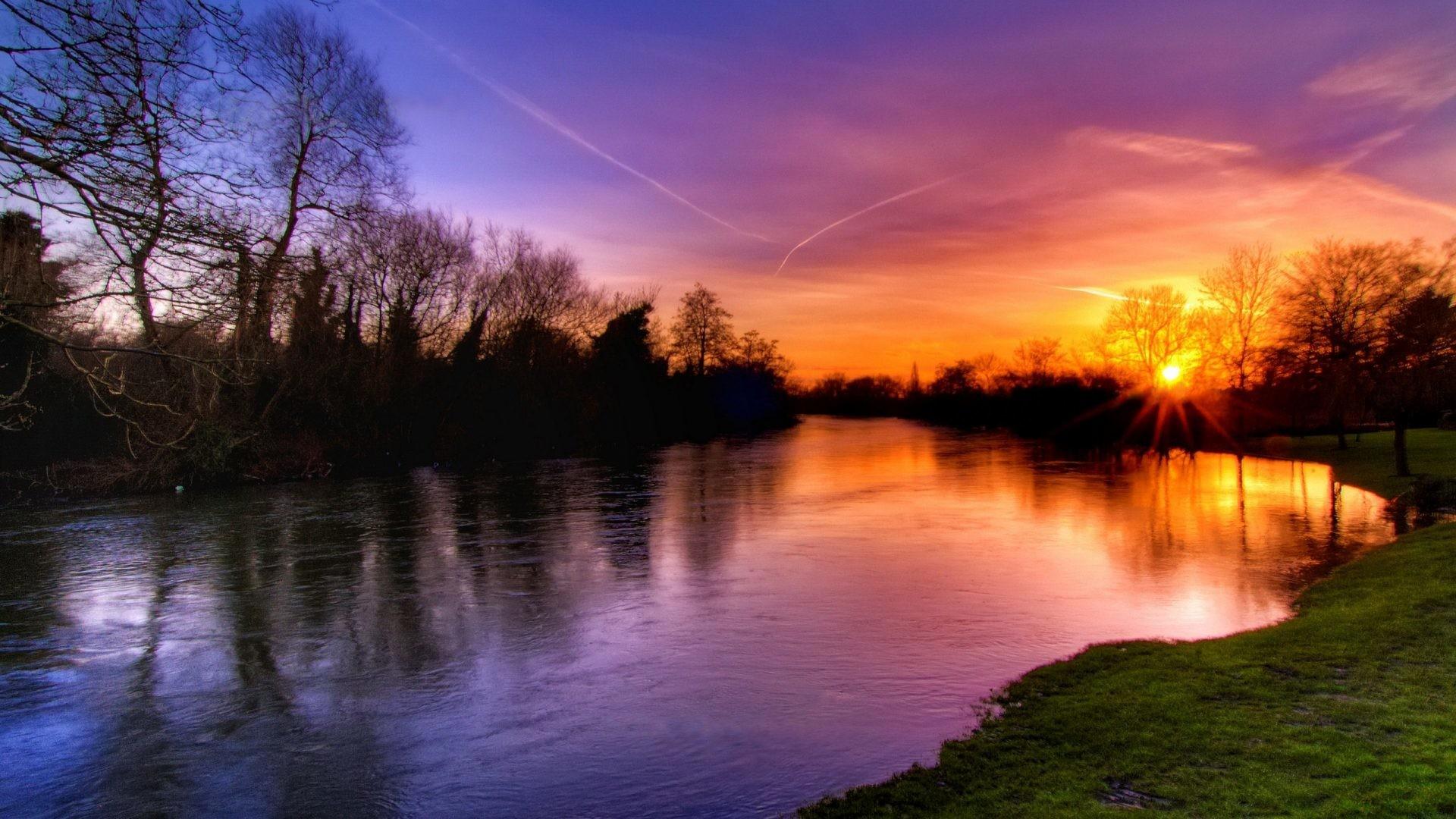 Amazing Tag – Tree Pretty Green Beautiful Nice Orange Reflection Splendor  Sky River Water Blue Nature