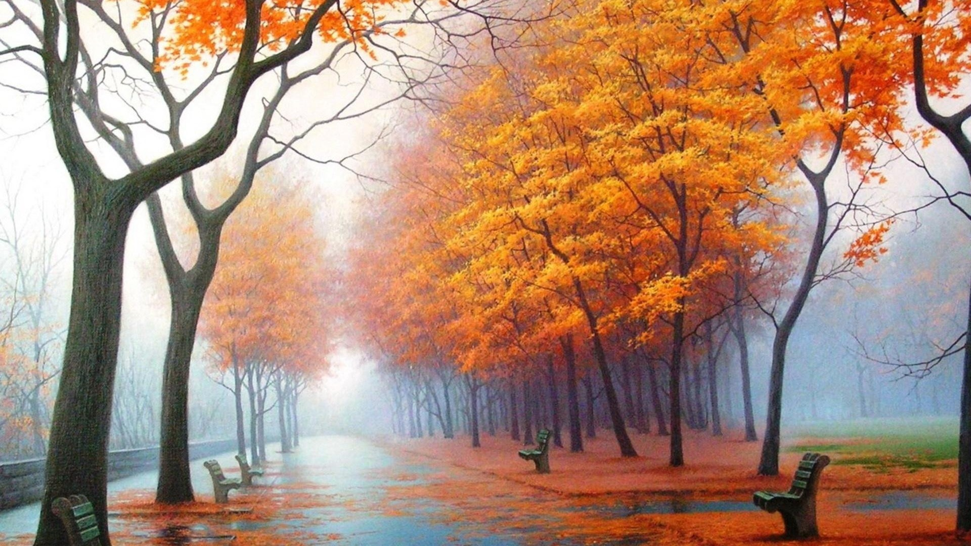 Preview wallpaper autumn, park, avenue, benches, trees, leaf fall, fog