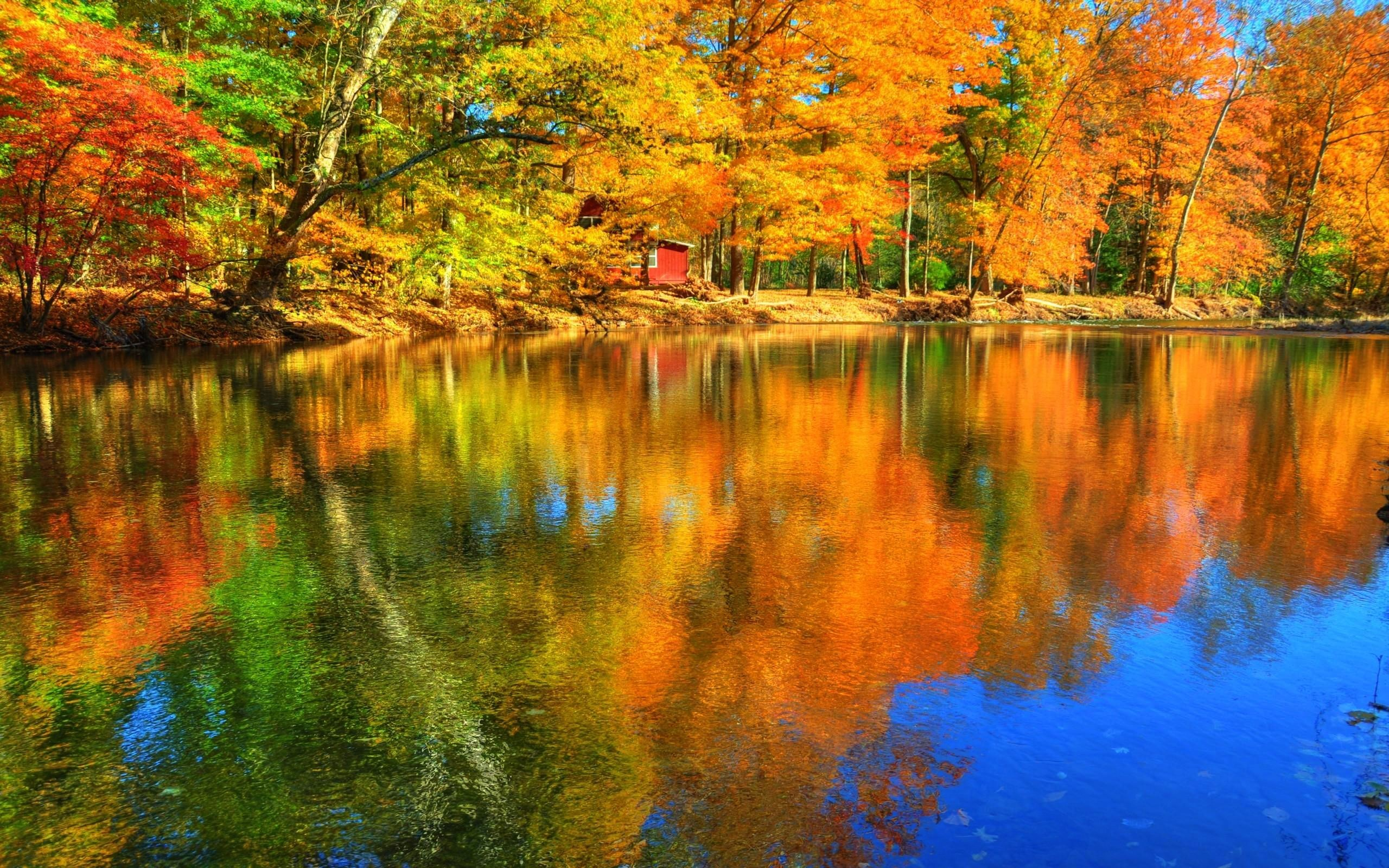 Lakes: Autumn Reflections Forest Lake Colors Water Fall Trees .