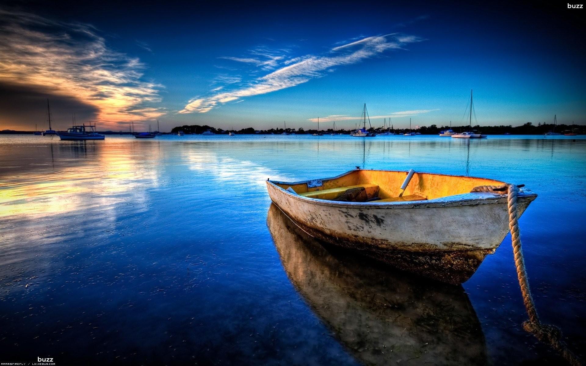 boat at sunset wallpaper