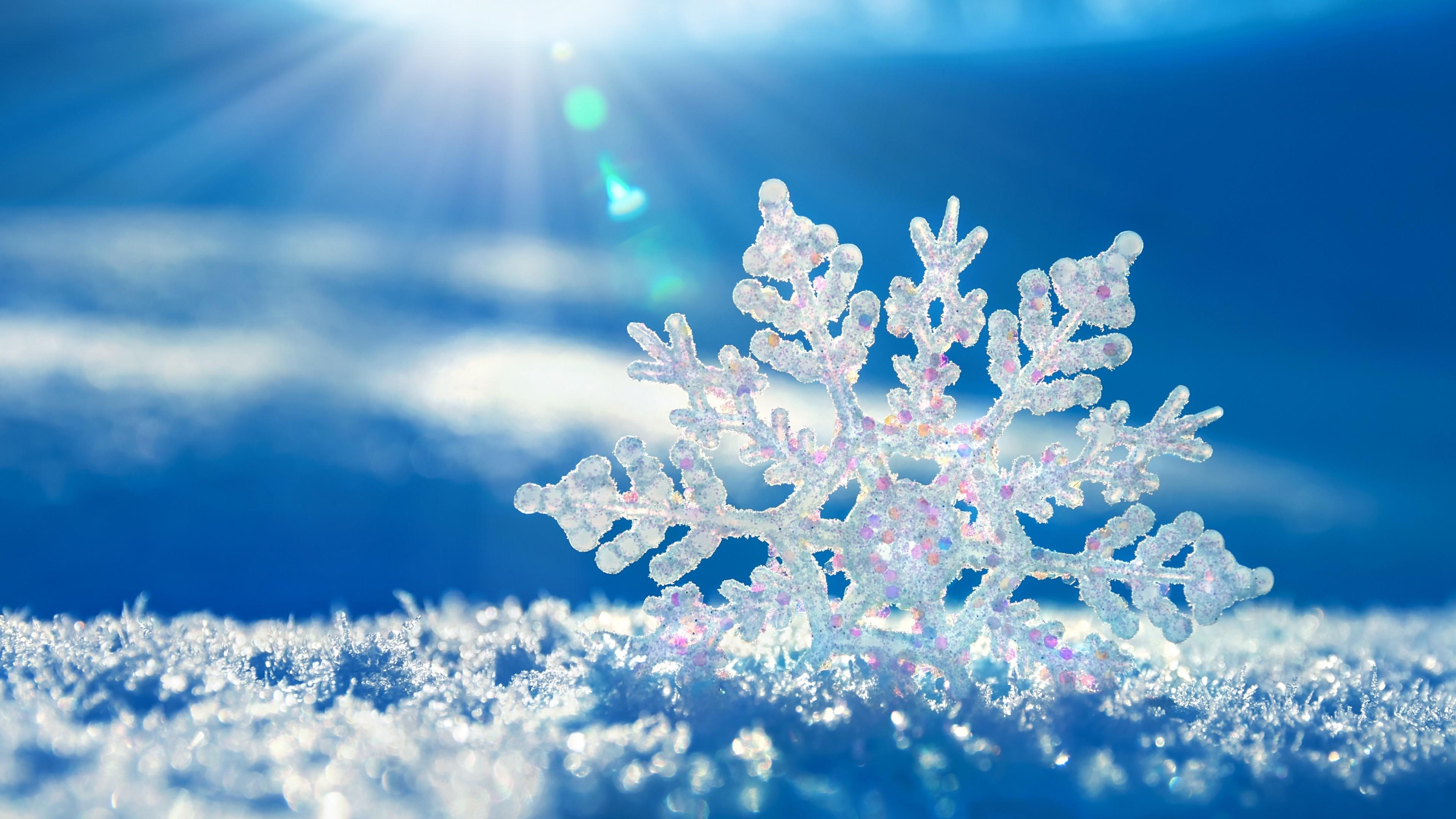 Preview wallpaper snow, snowflake, winter 3840×2160