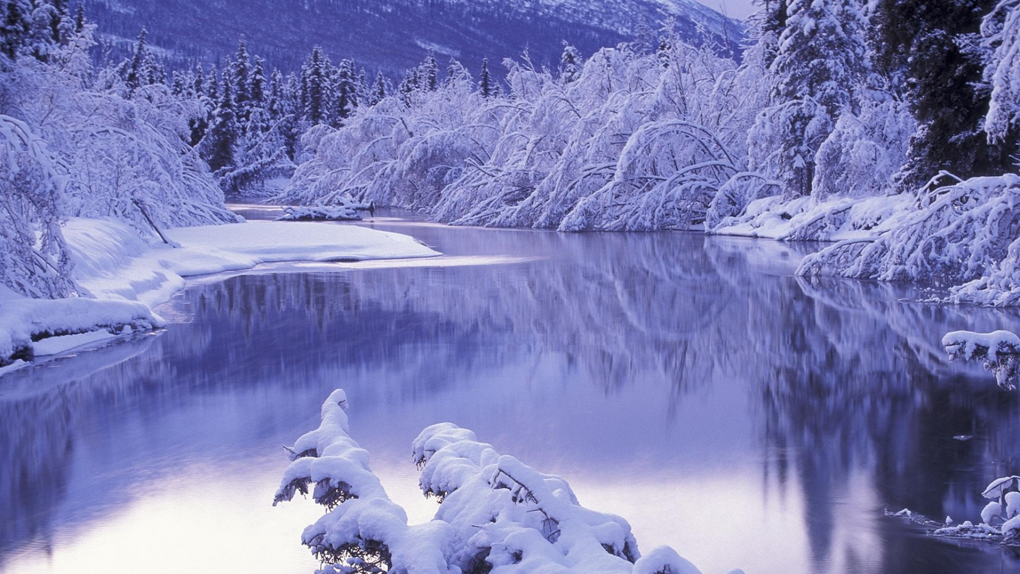 Preview wallpaper snow, white, winter, nature, scenery 2048×1152