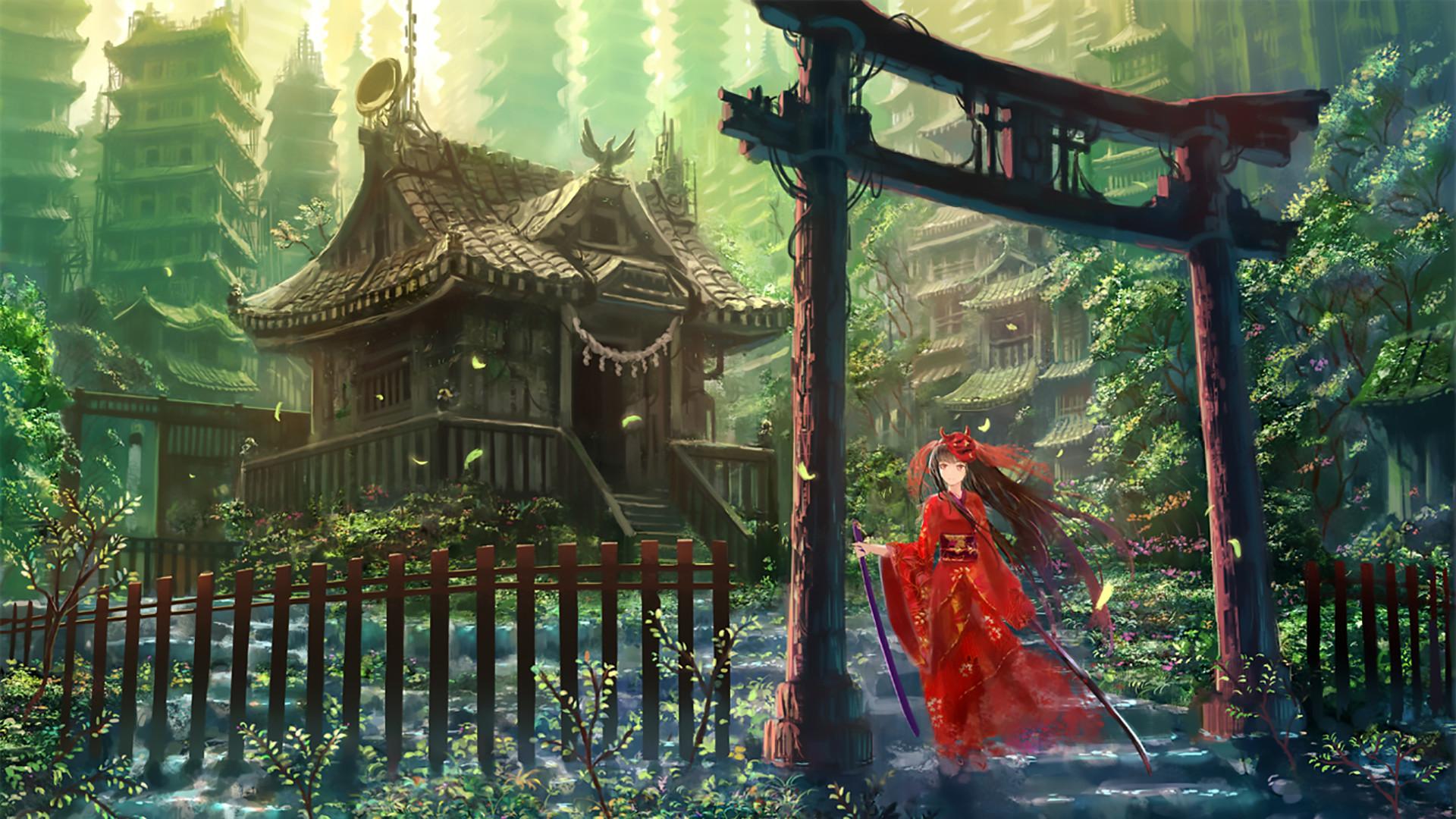 Anime – Original Woman Pretty Japanese Clothes Scenic Weapon Katana Long  Hair Hinomoto Oniko Wallpaper