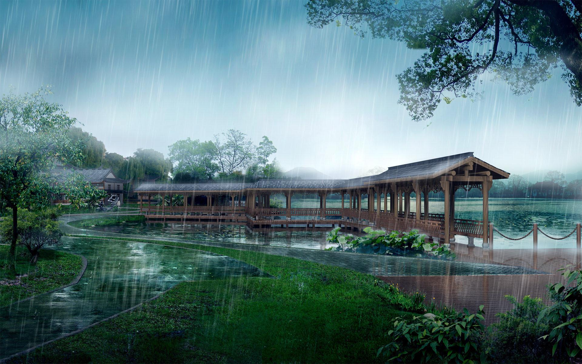 nice japanese garden in the rain – – full hd 16/10