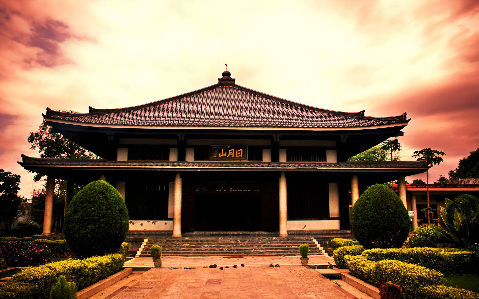 Japanese House Scenery Background HD Desktop Wallpaper, Background Image