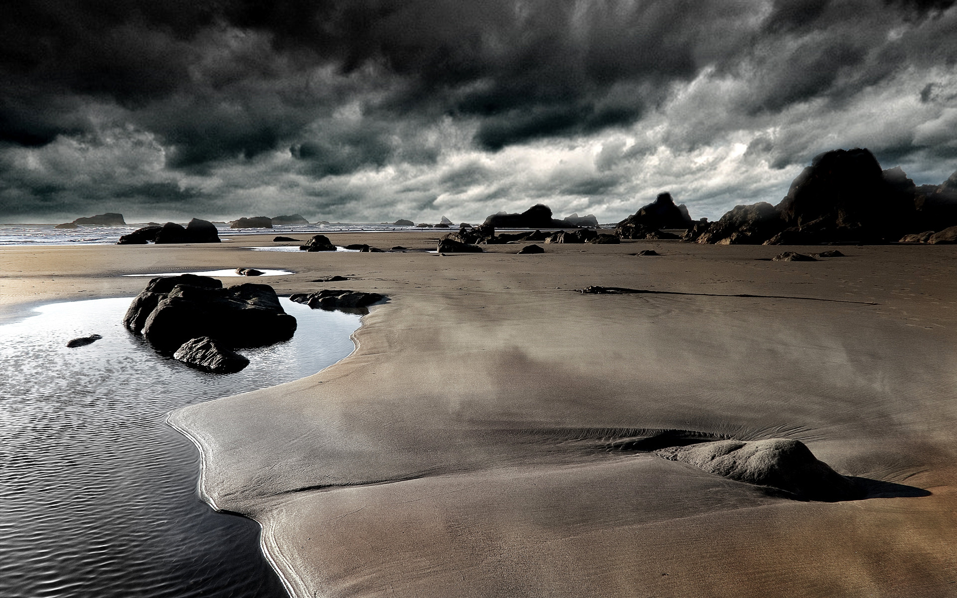 stormy beach wallpaper hd photo