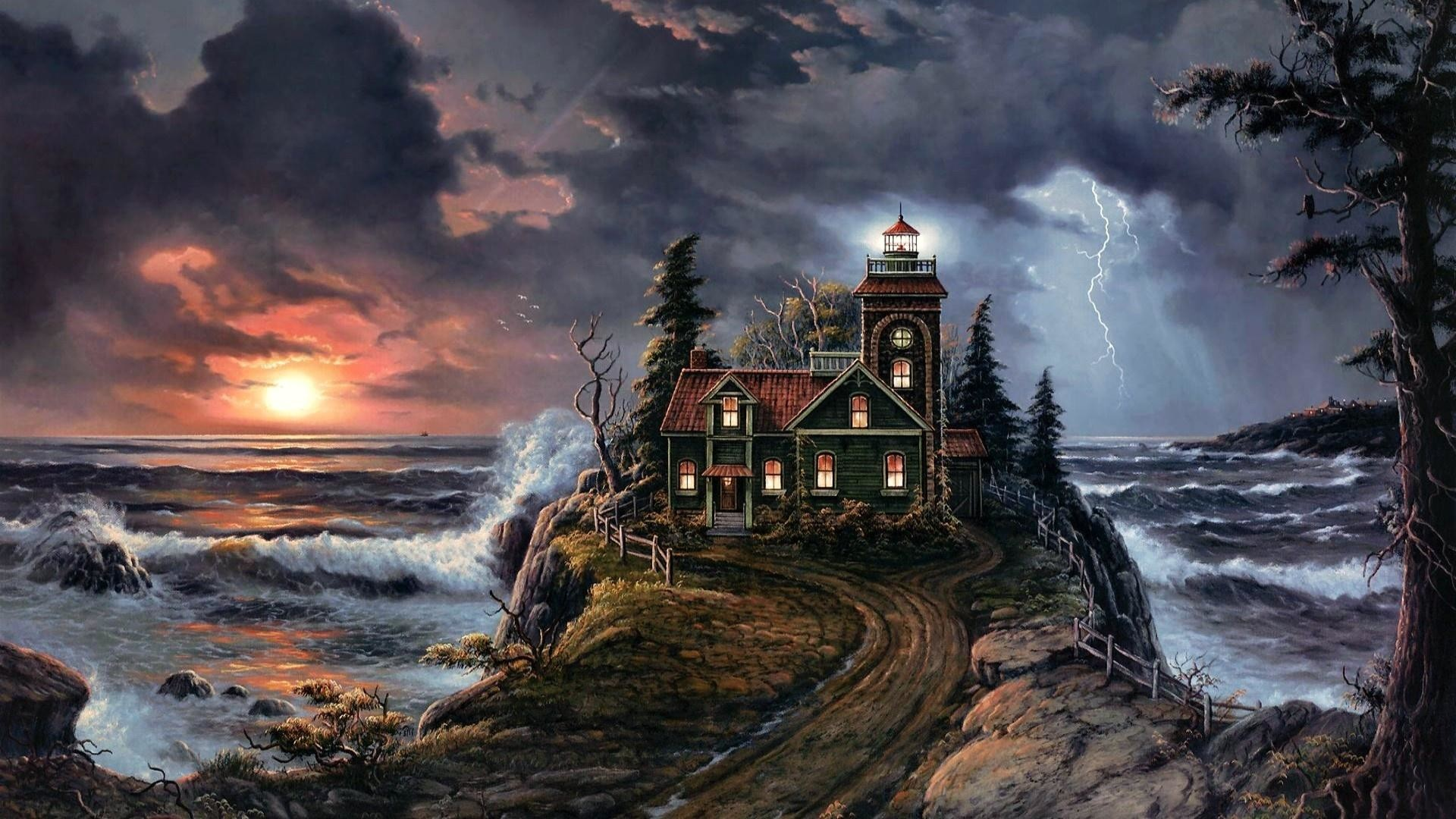 lighthouse paintings | HD Stormy Lighthouse Oil Painting Wallpaper