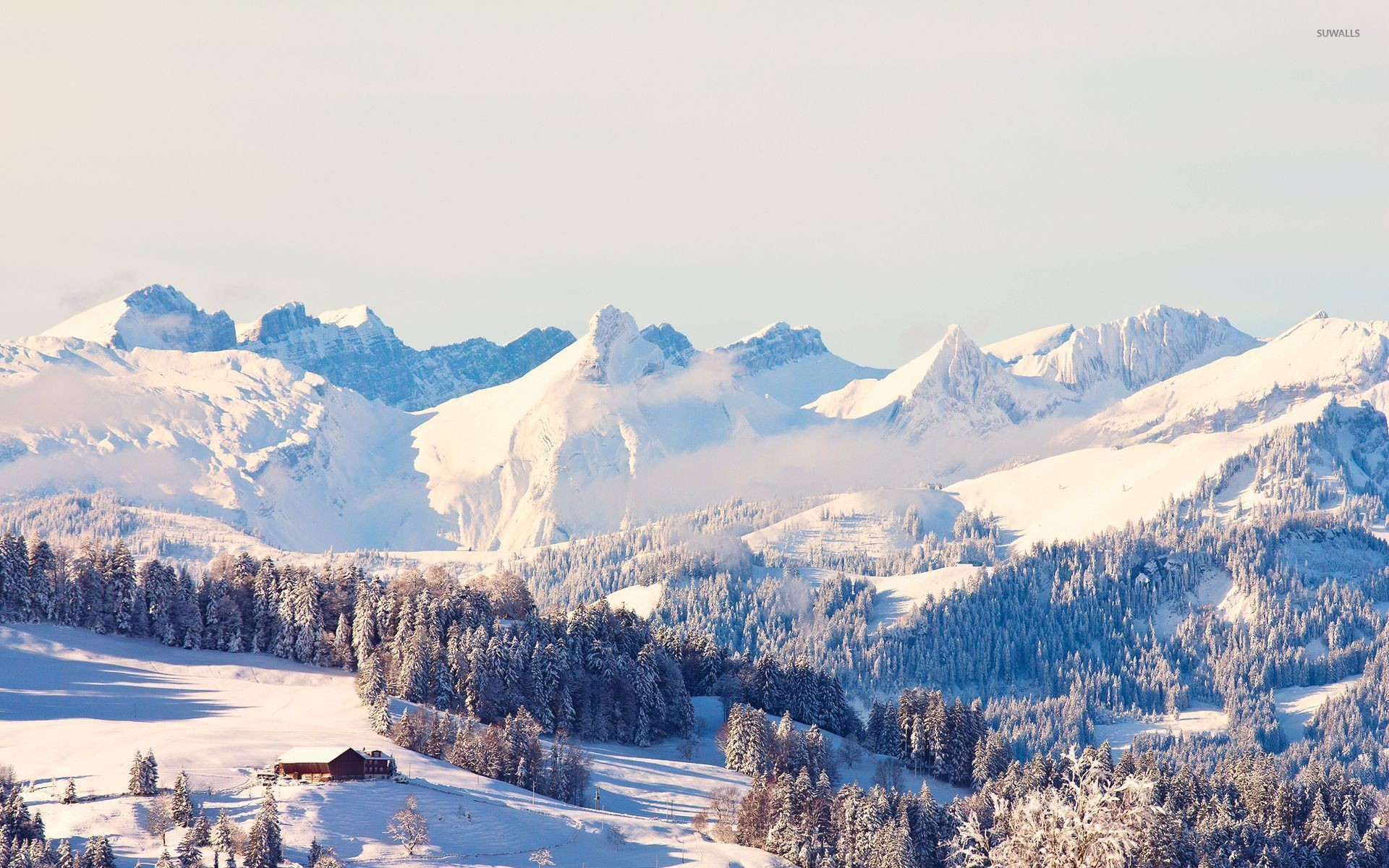 Sunny Snowy Mountains wallpapers (37 Wallpapers)