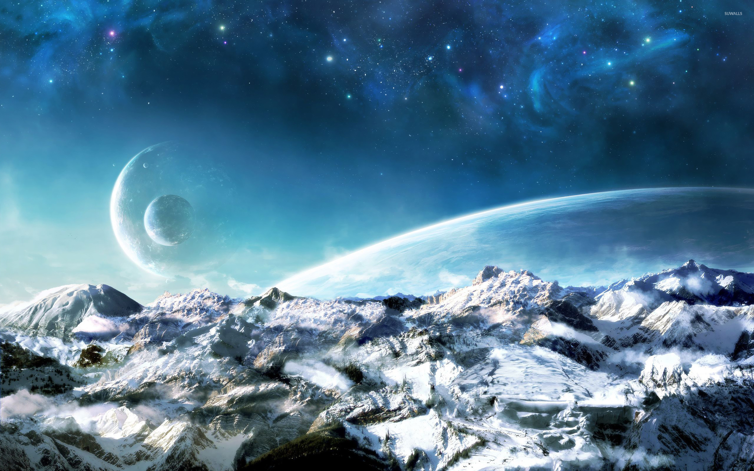 Planets over the snowy mountains wallpaper jpg
