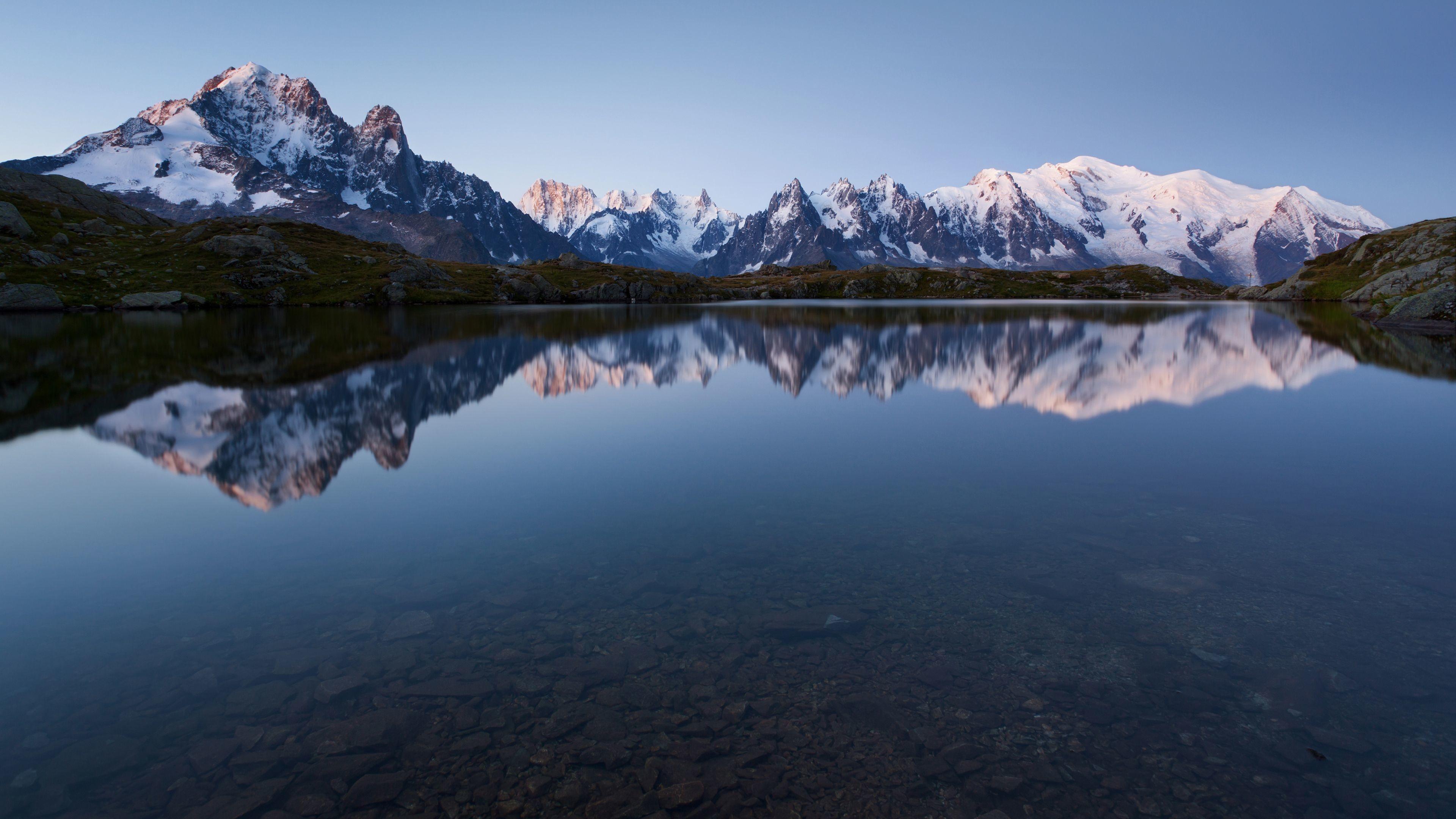 Snowy Mountains and Lake 4K Wallpaper