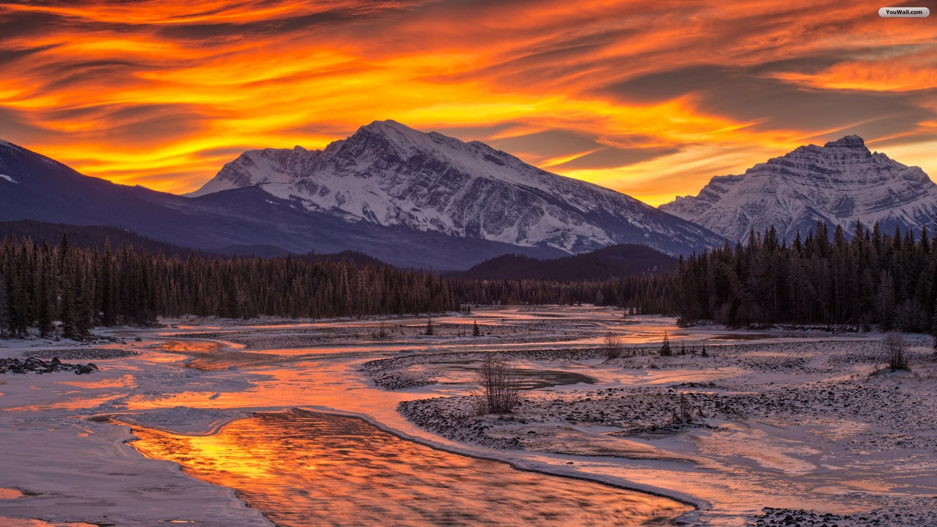 Denver Mountains Sunset. Wallpaper of sunset over snowy mountains