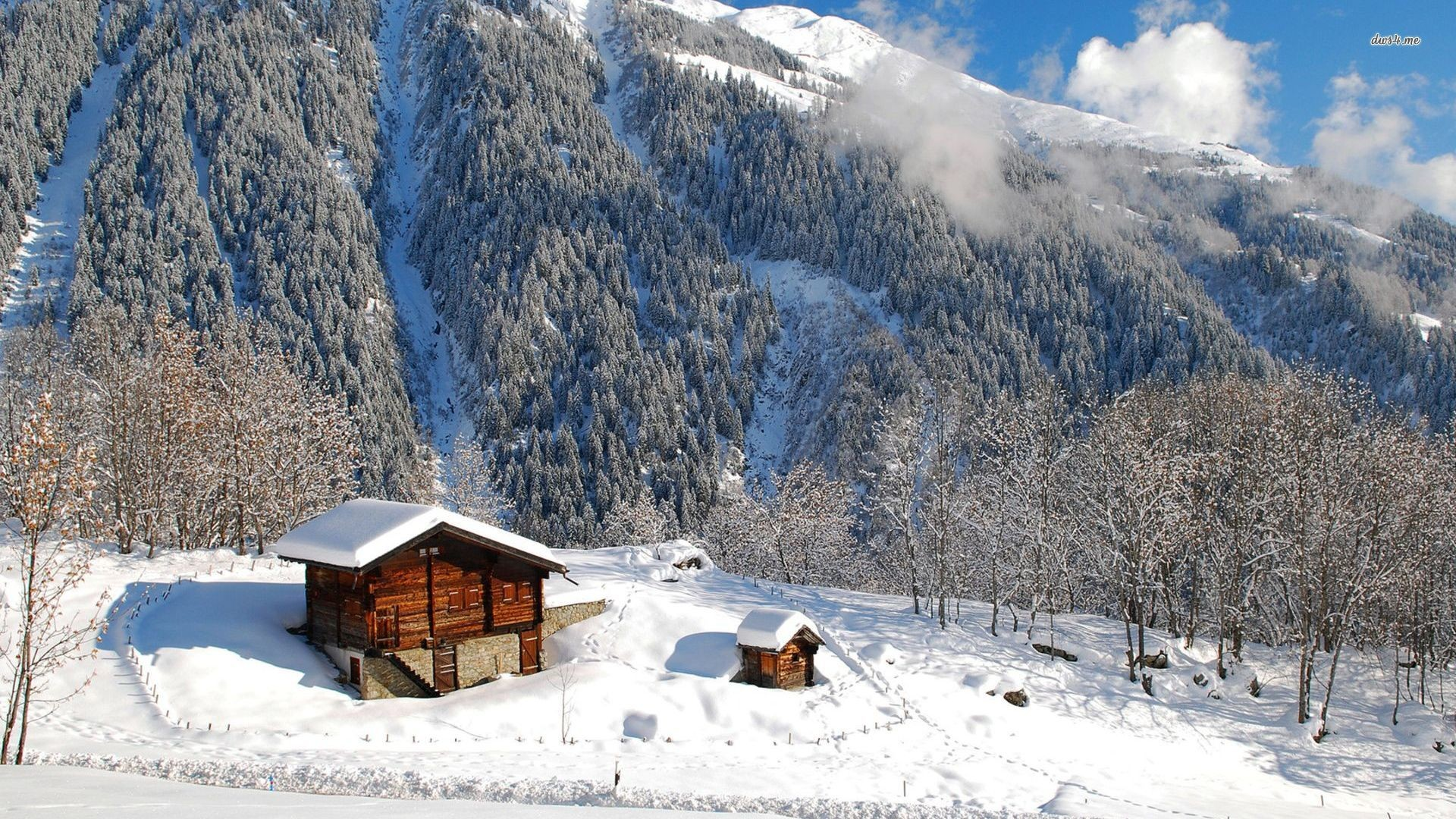 snowy mountains wallpaper Wooden cabins in the snowy mountains wallpaper –  World wallpapers – #