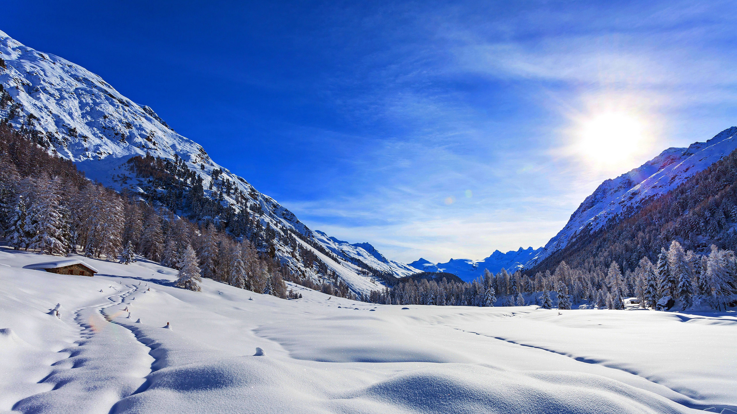 … rising over snowy mountains HD Wallpaper 2560×1440