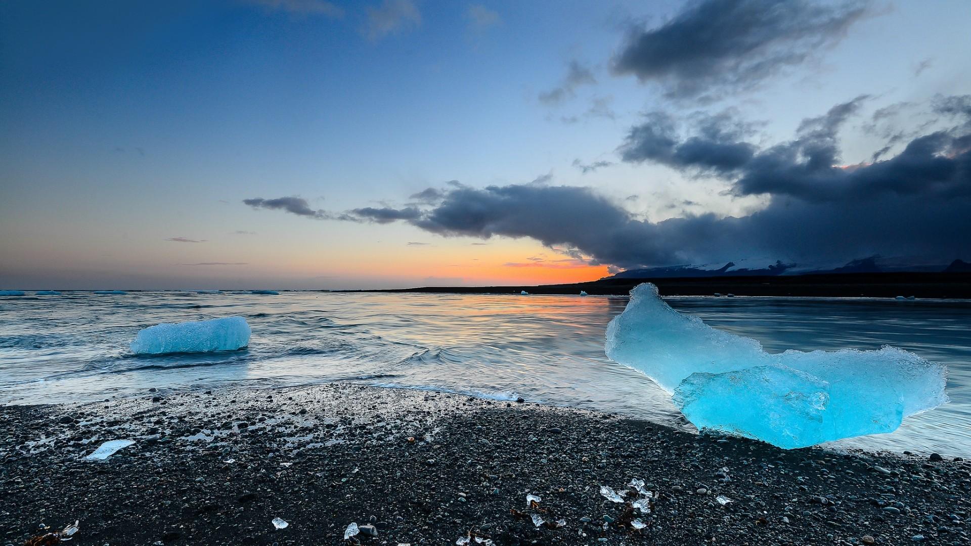 Wallpaper iceland, jokulsarlon, beach, ice, coast, sky