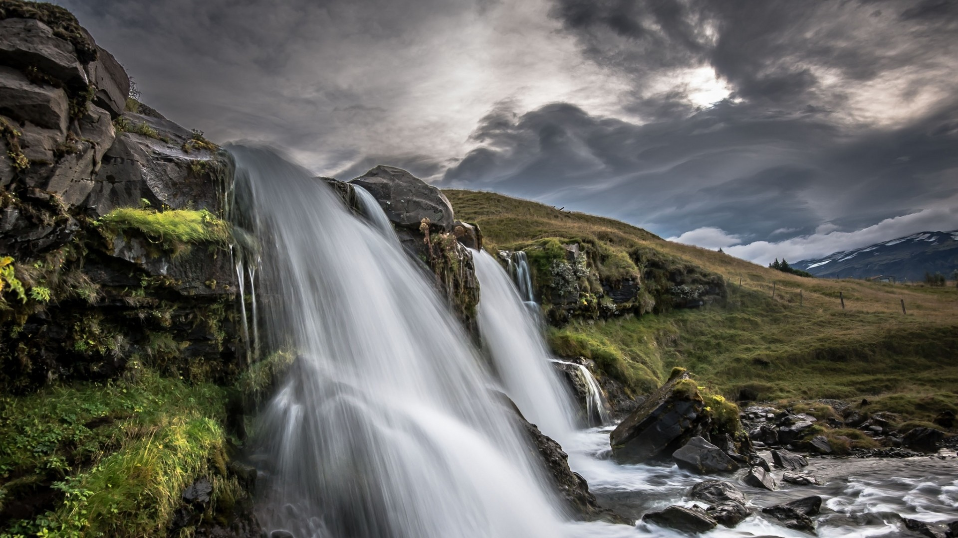 Wallpaper iceland, waterfall, nature