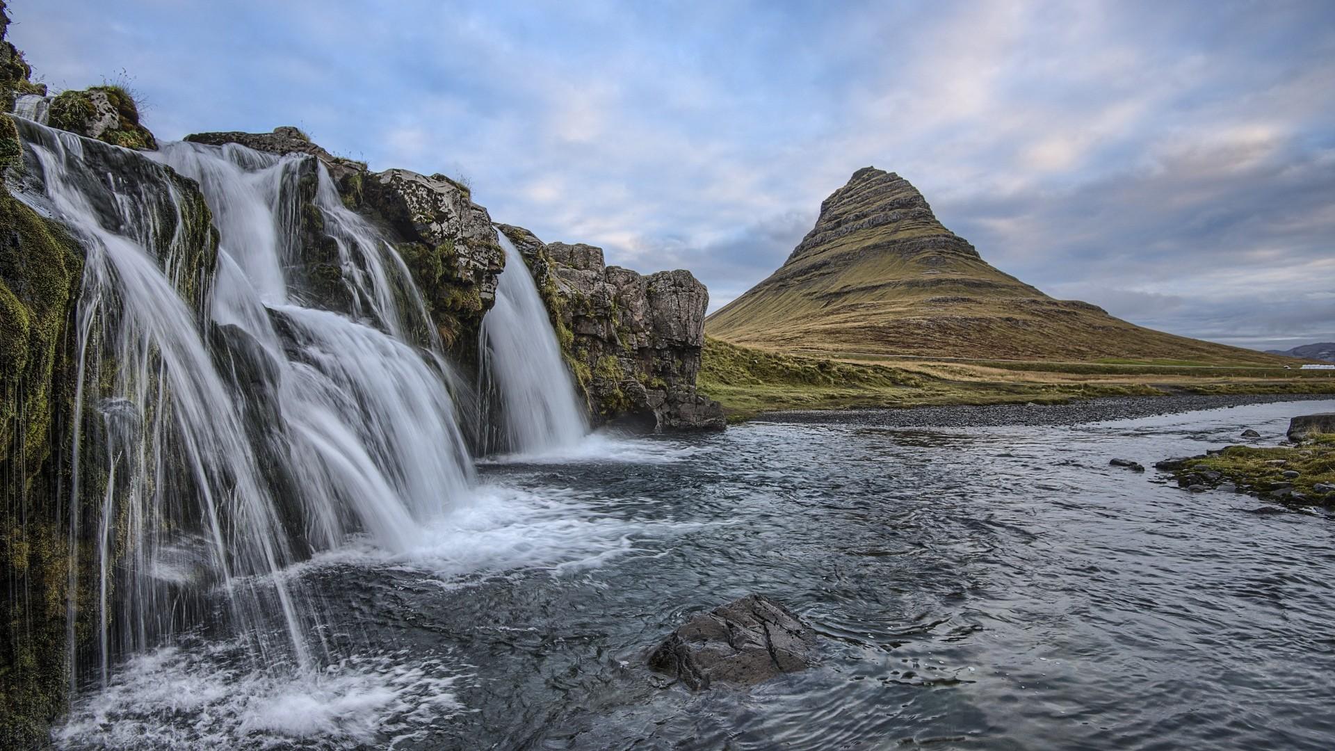 Wallpaper waterfalls, hills, iceland