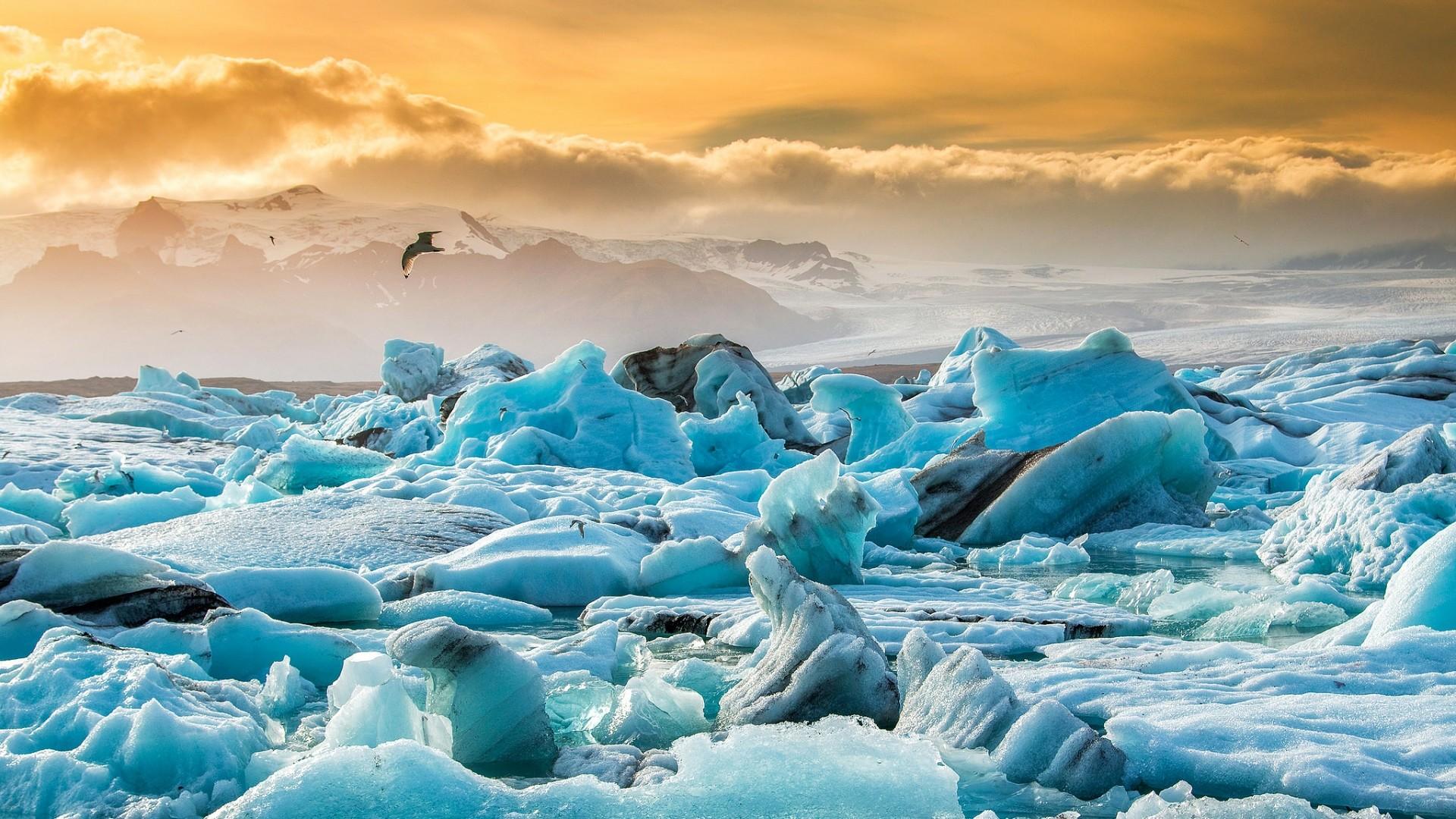 Preview wallpaper iceland jökulsárlón, glacier lagoon, ice floes, lake  1920×1080