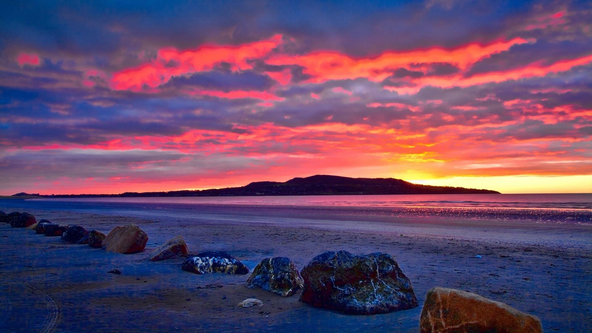 Wallpaper iceland, beach, rocks, bay, dawn
